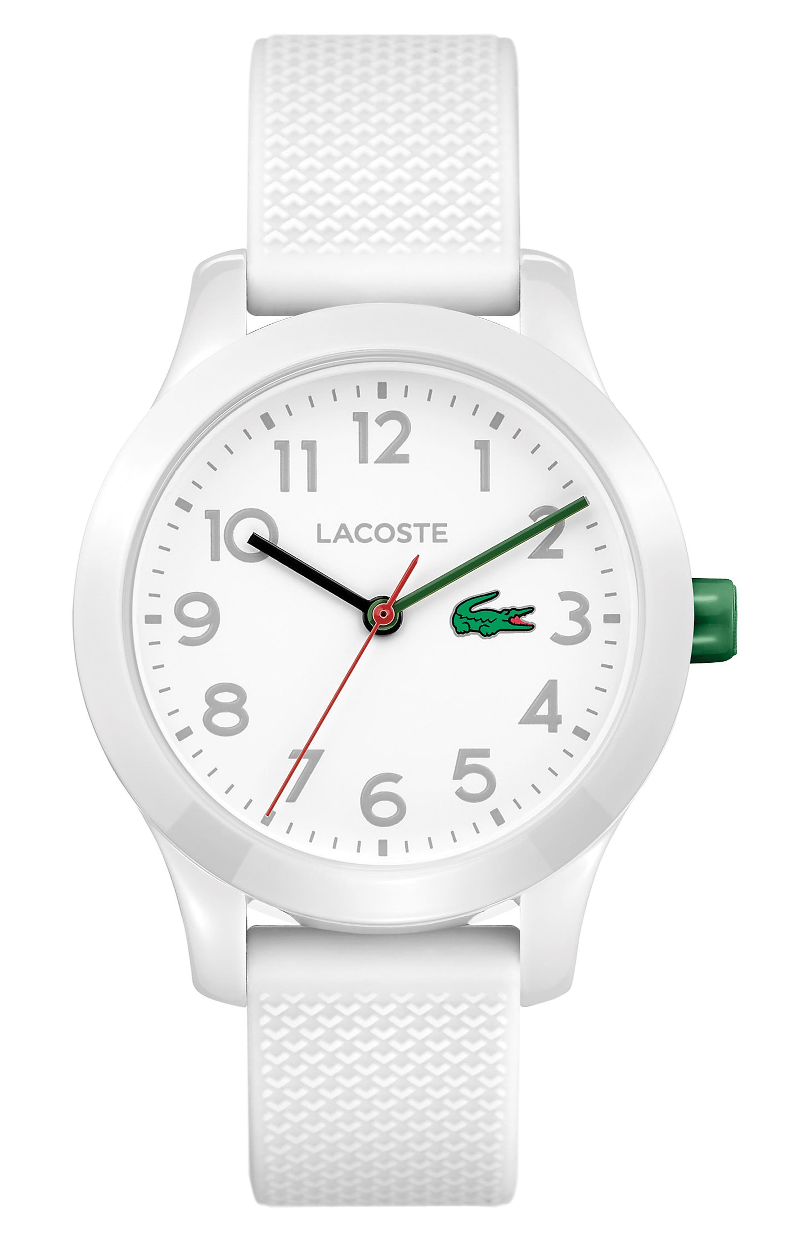LACOSTE Kids 12.12 Silicone Strap Watch, 32mm, Main, color, WHITE