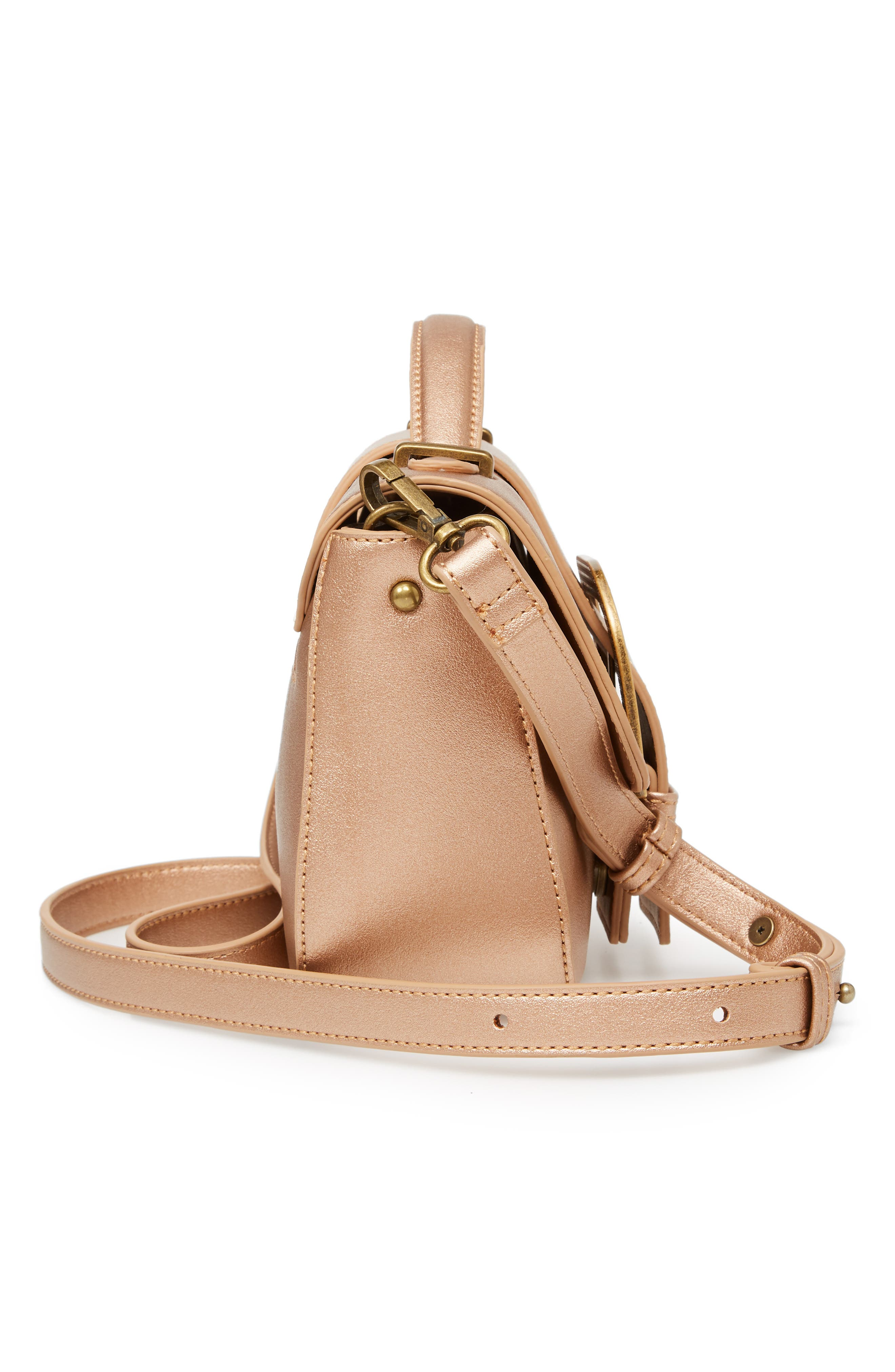 MALIBU SKYE, Oversize Buckle Top Handle Bag, Alternate thumbnail 6, color, ROSE GOLD