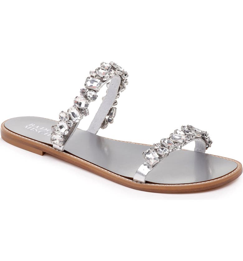 Badgley Mischka Sandals BADGLEY MISCHKA LOVEDAY CRYSTAL EMBELLISHED SLIDE SANDAL