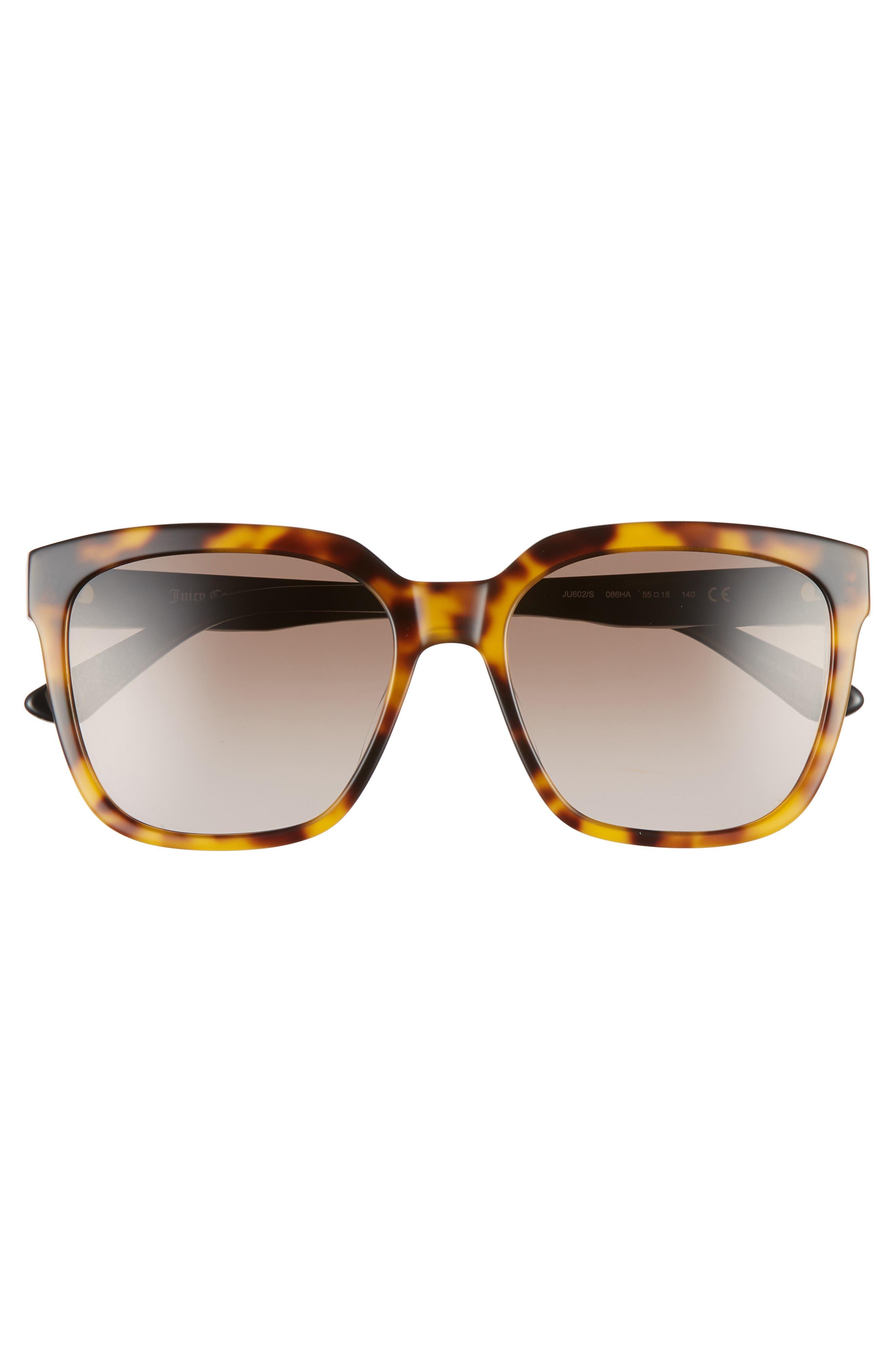 JUICY COUTURE, Core 55mm Square Sunglasses, Alternate thumbnail 3, color, BLACK