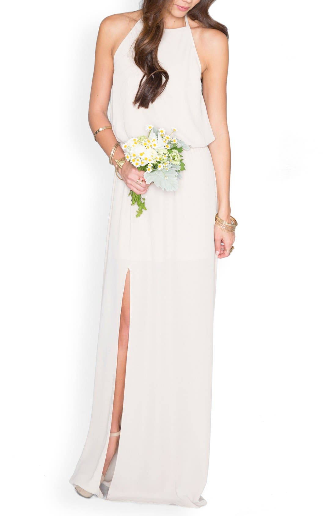 SHOW ME YOUR MUMU, Kendall Soft V-Back A-Line Gown, Alternate thumbnail 5, color, SHOW ME THE RING CRISP