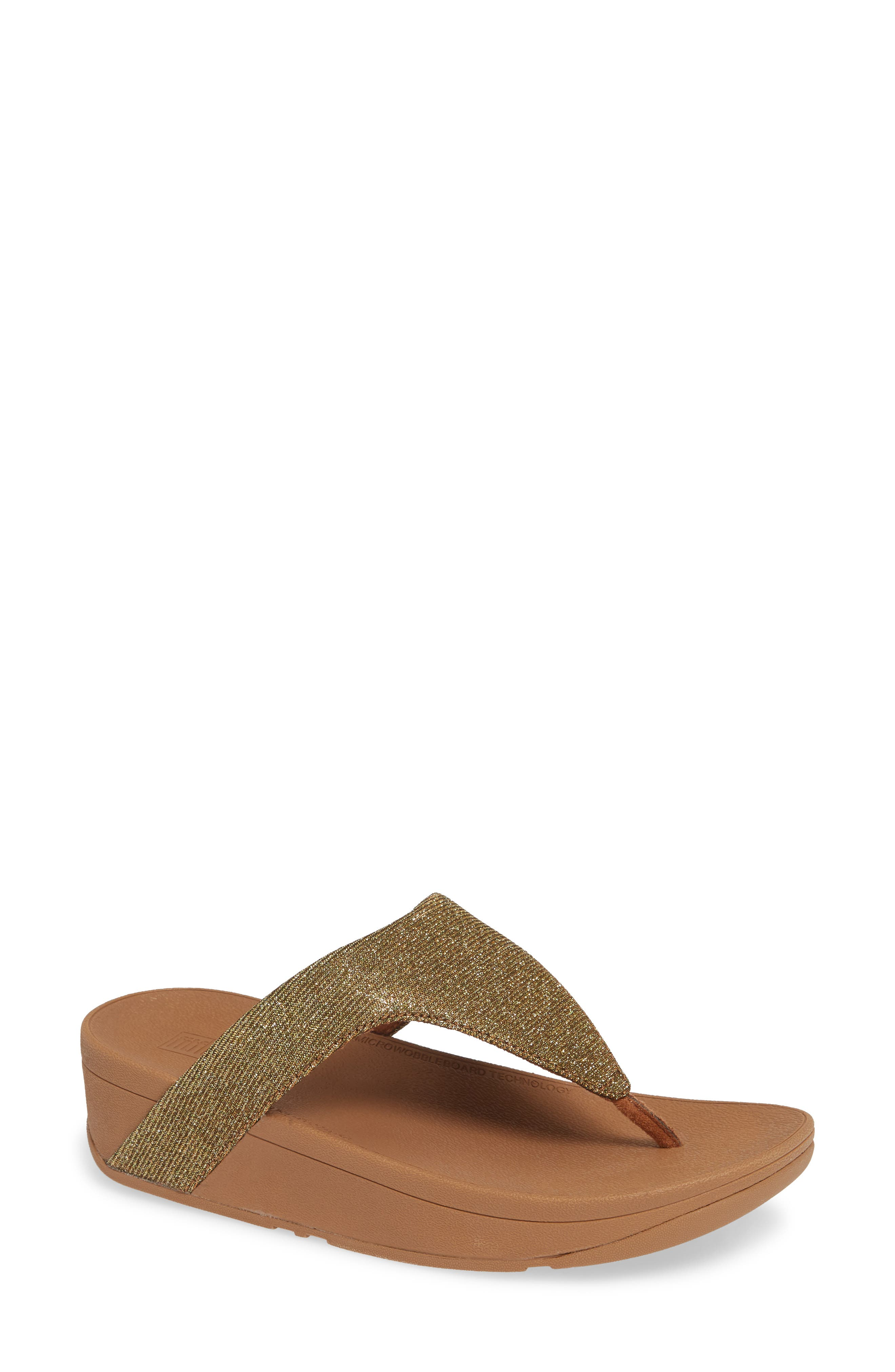 FITFLOP Lottie Glitzy Wedge Flip Flop, Main, color, ARTISAN GOLD