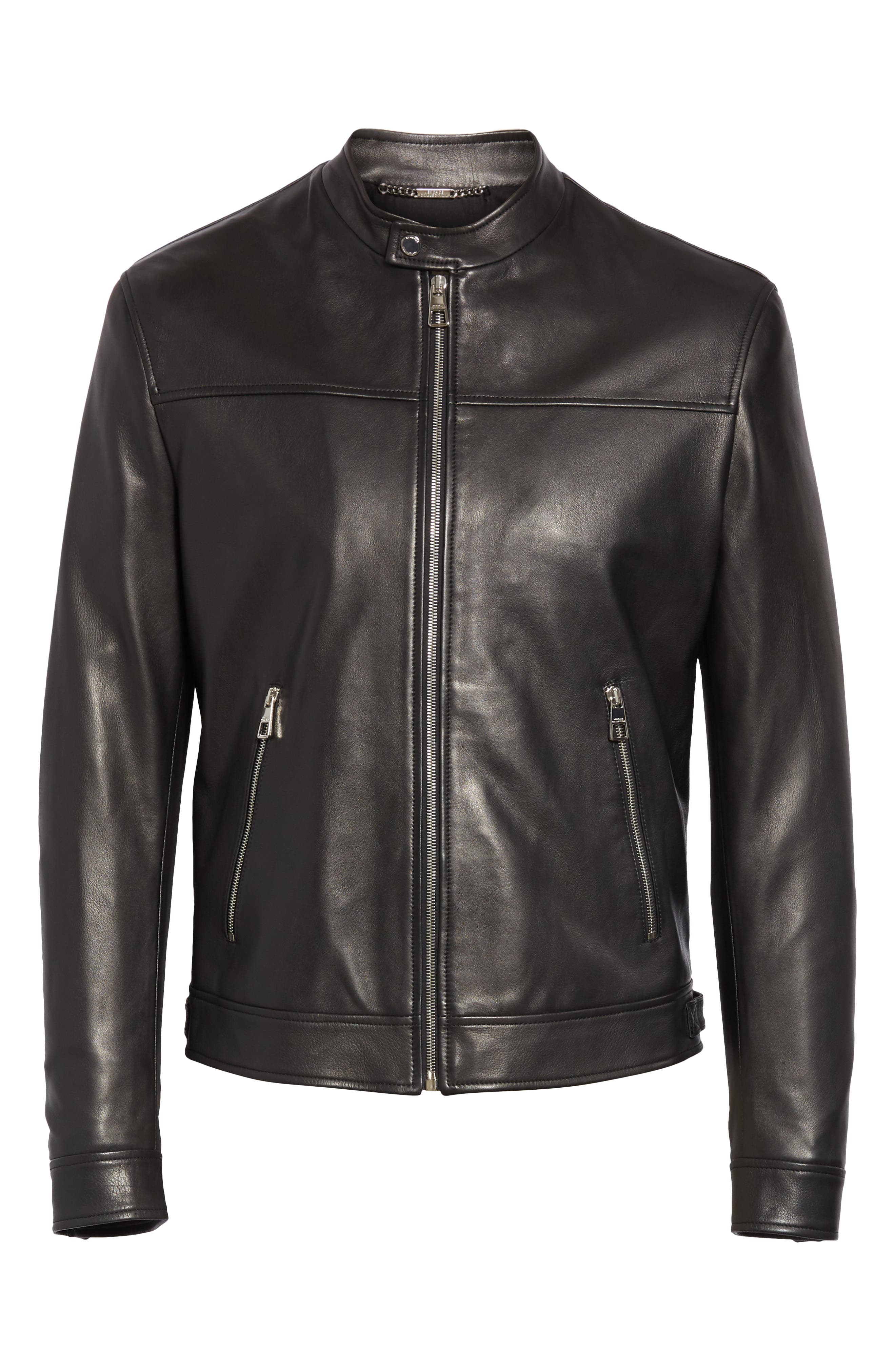 VERSACE COLLECTION, Lambskin Leather Jacket, Alternate thumbnail 5, color, 001