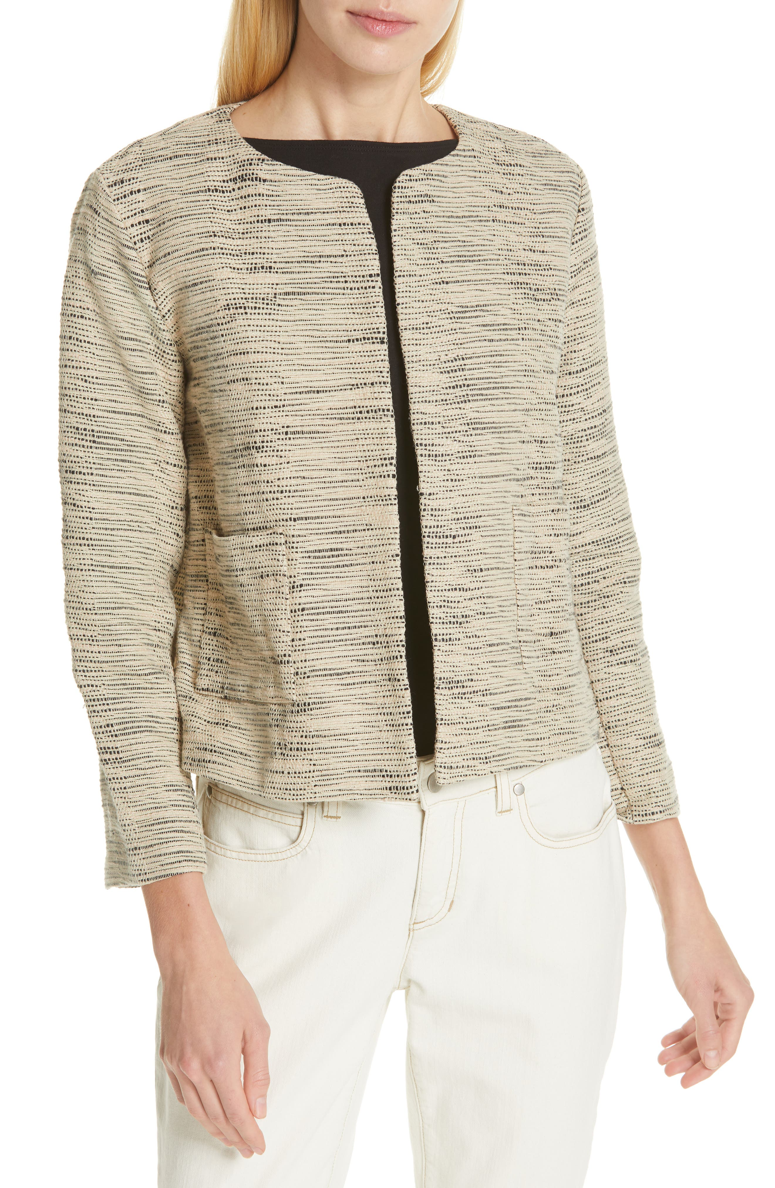 EILEEN FISHER, Woven Cotton Jacket, Main thumbnail 1, color, NATURAL