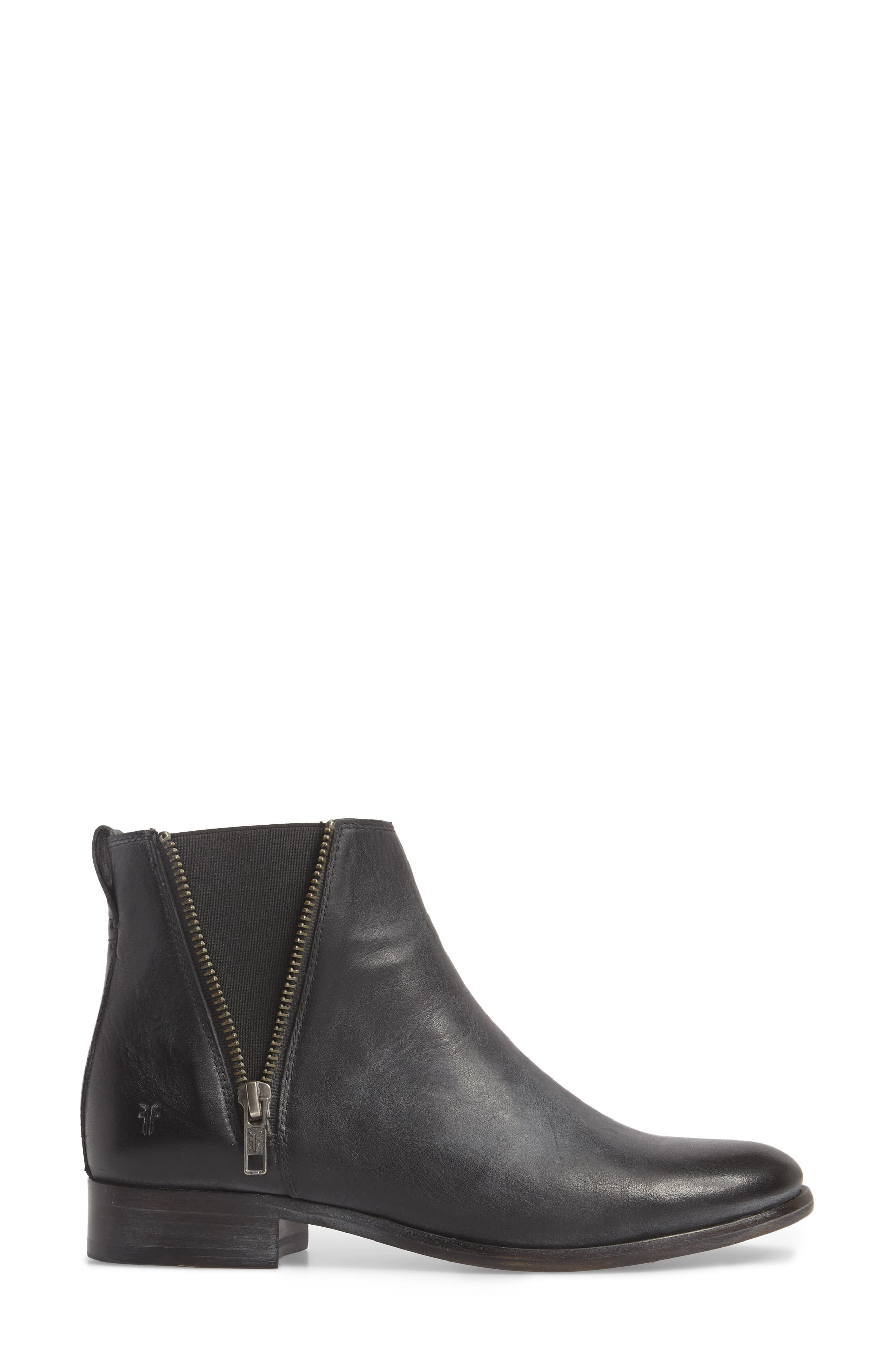 FRYE, Carly Chelsea Boot, Alternate thumbnail 3, color, BLACK ANTIQUED LEATHER