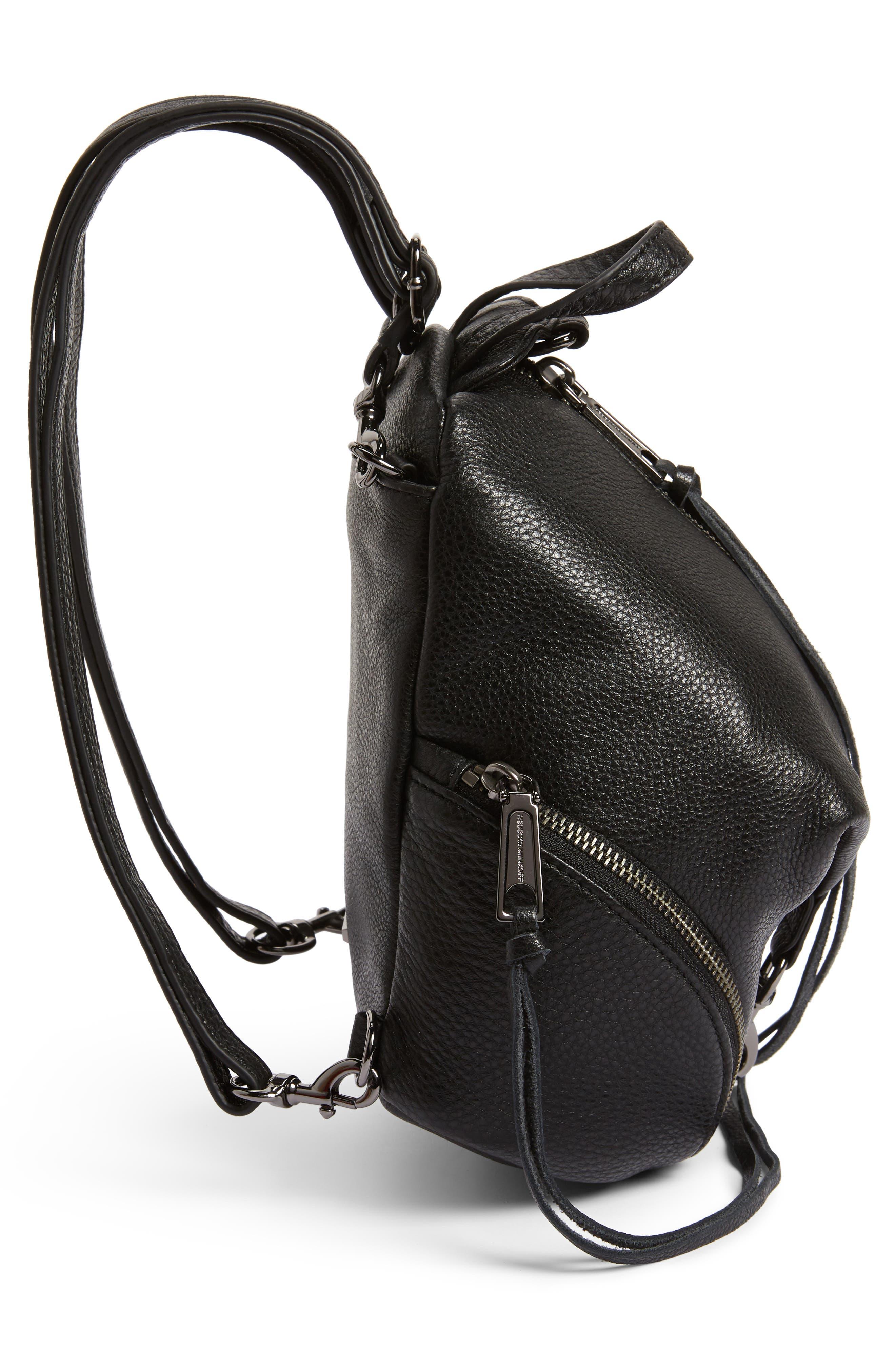REBECCA MINKOFF, Mini Julian Pebbled Leather Convertible Backpack, Alternate thumbnail 7, color, BLACK