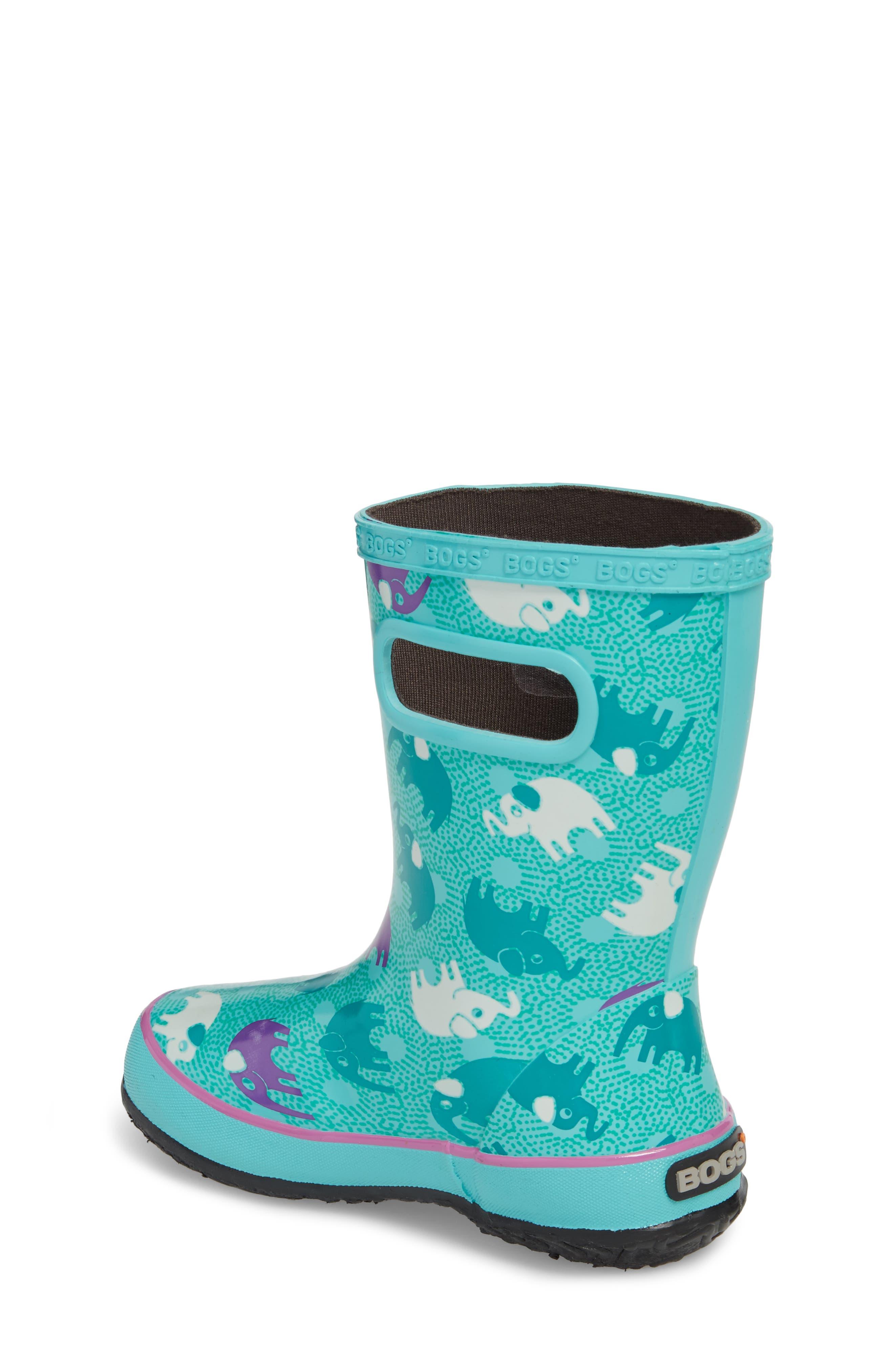 BOGS, Skipper Elephant Print Rubber Waterproof Rain Boot, Alternate thumbnail 2, color, TURQUOISE MULTI