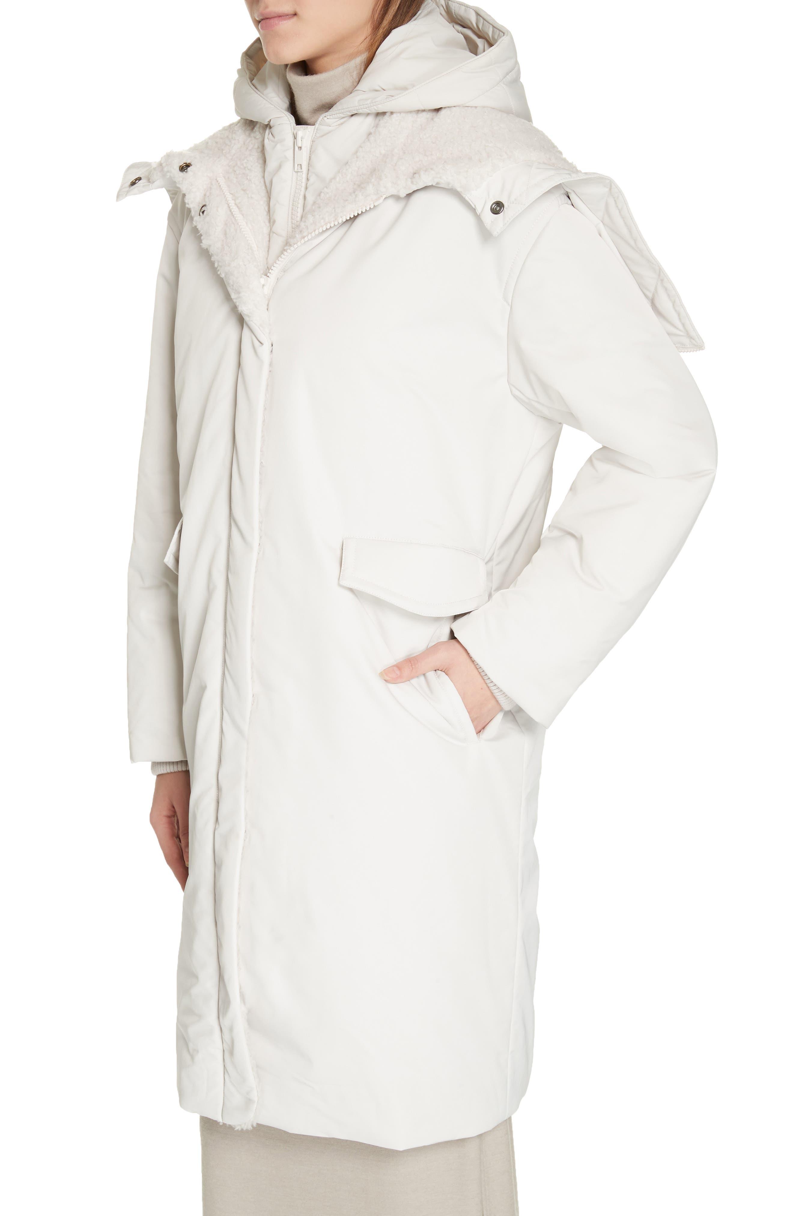 VINCE, Faux Fur Trim Puffer Coat, Alternate thumbnail 4, color, LUCITE