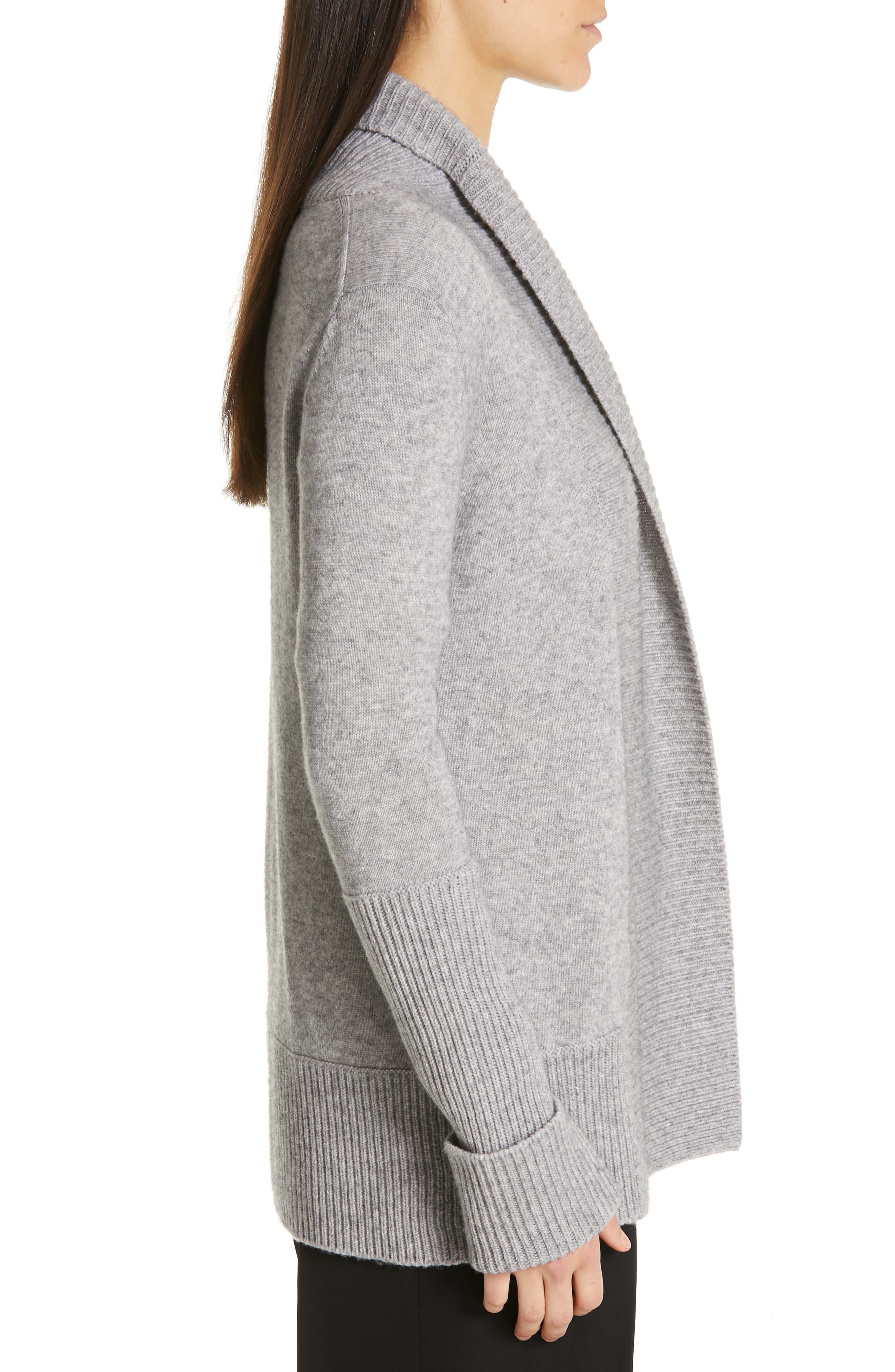 VINCE, Wool & Cashmere Cardigan, Alternate thumbnail 3, color, H STEEL