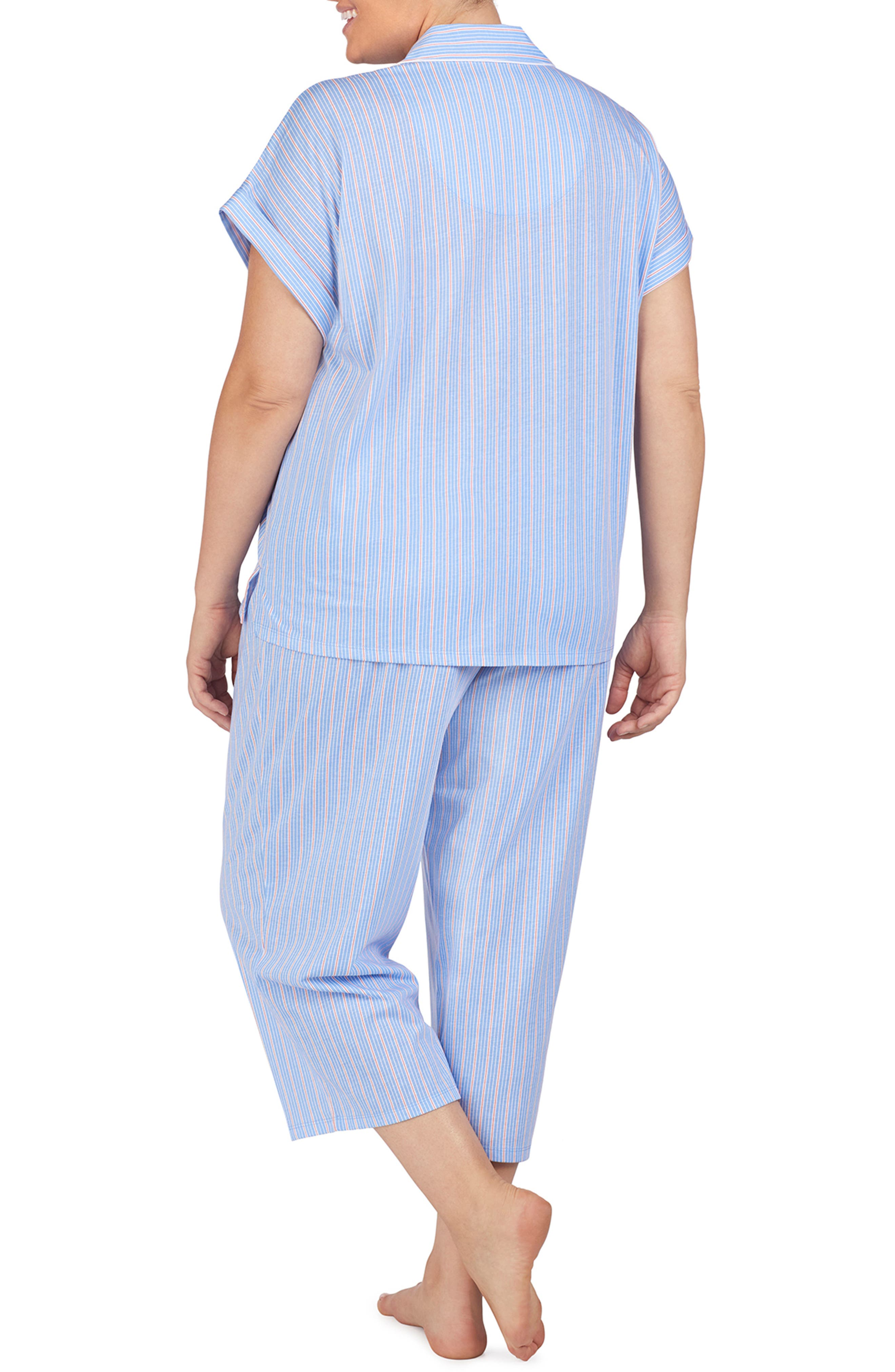 LAUREN RALPH LAUREN, Capri Pajamas, Alternate thumbnail 4, color, BLUE STRIPE