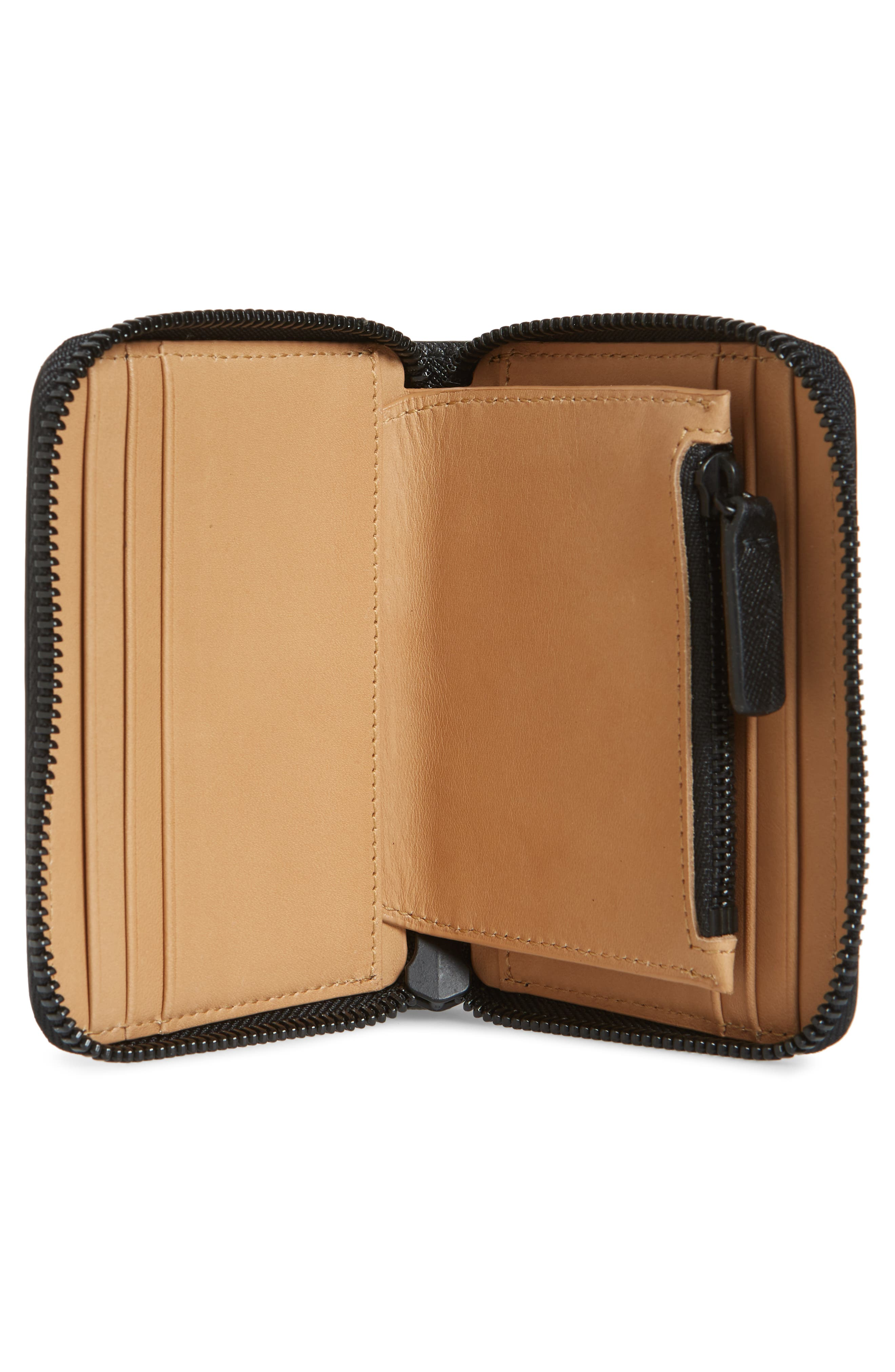 COMMON PROJECTS, Saffiano Zip Coin Case, Alternate thumbnail 2, color, 001