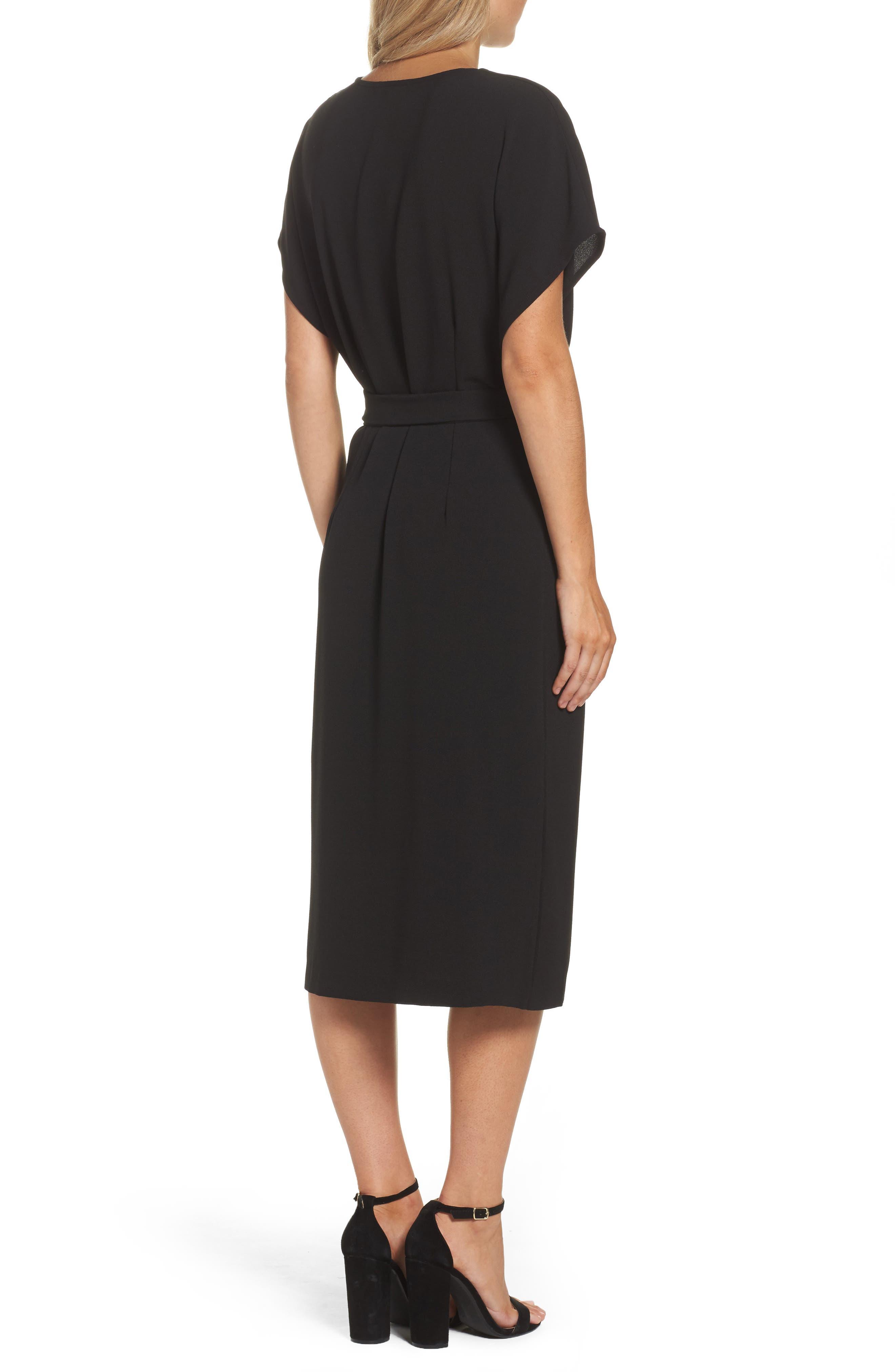FELICITY & COCO, Rita Wrap Dress, Alternate thumbnail 2, color, BLACK