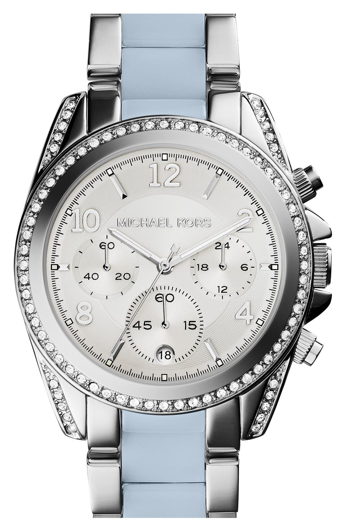 MICHAEL KORS, 'Blair' Crystal Bezel Two-Tone Bracelet Watch, 39mm, Main thumbnail 1, color, 040