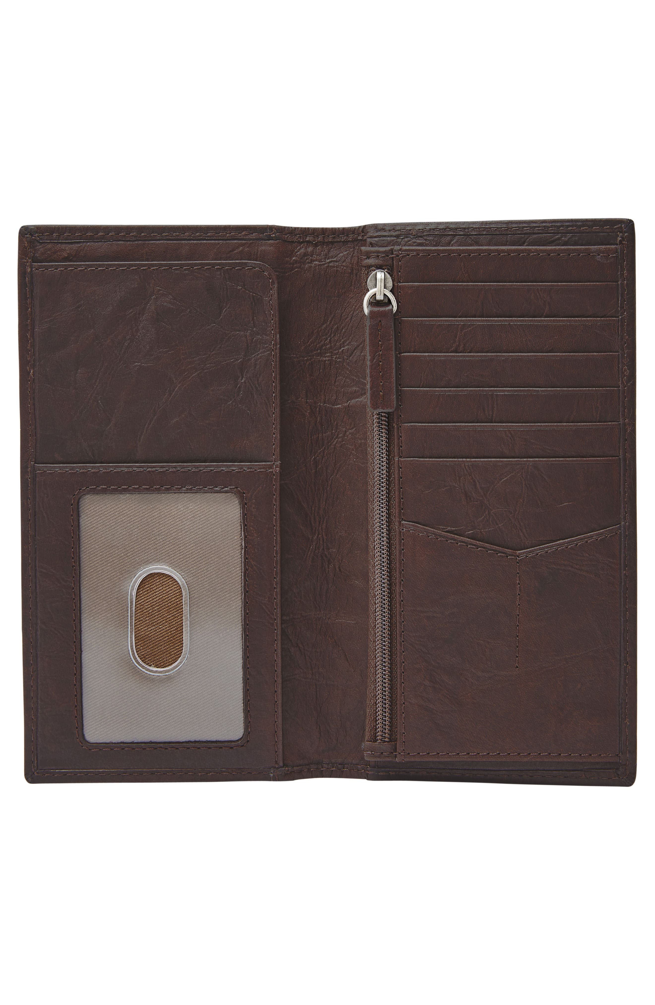 FOSSIL, Neel Leather Executive Wallet, Alternate thumbnail 2, color, BROWN