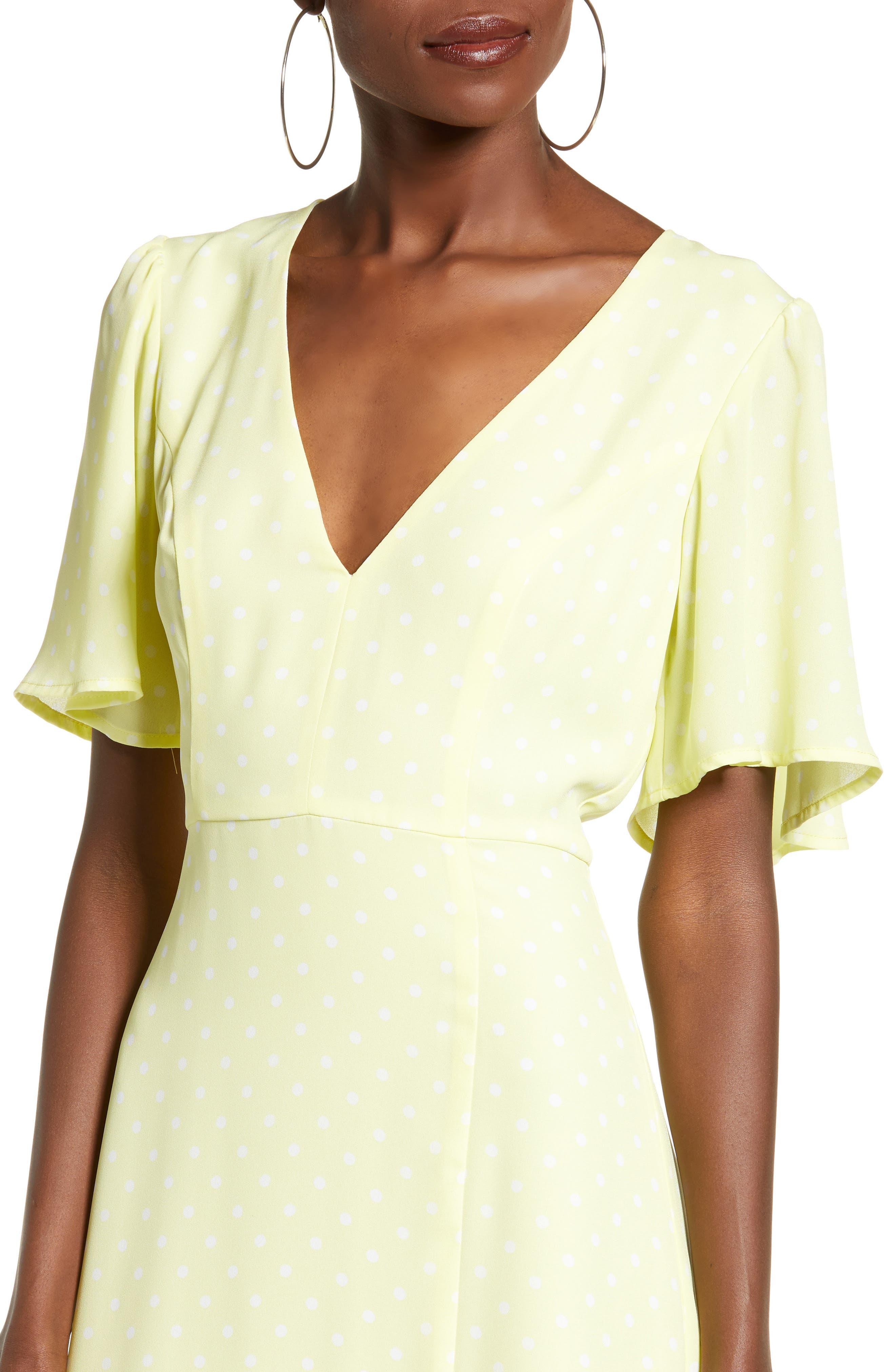 LEITH, Flutter Sleeve Midi Dress, Alternate thumbnail 5, color, YELLOW MERINGUE DOT