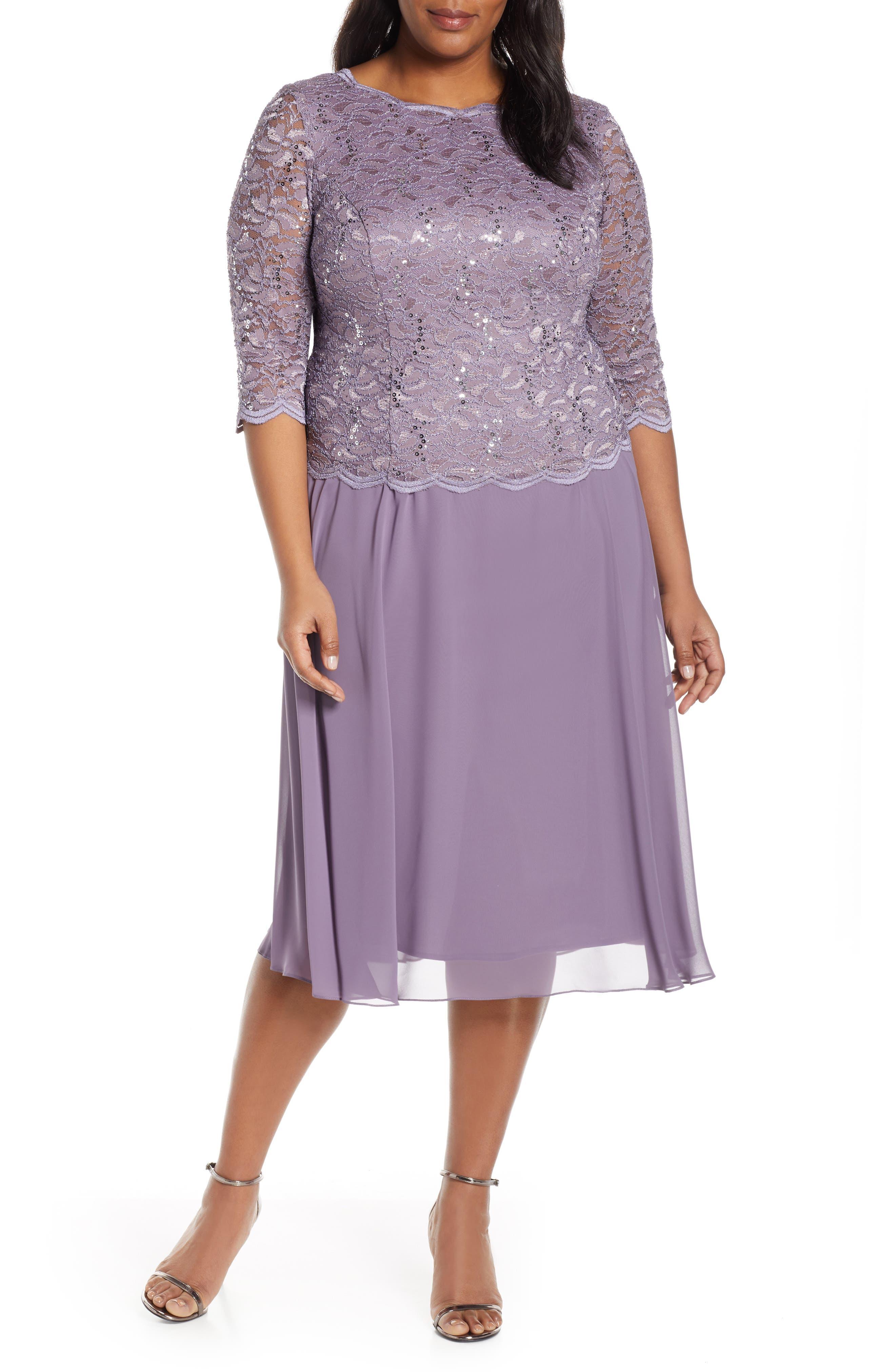 Plus Size Alex Evenings Mock Two-Piece Tea Length Dress, Purple