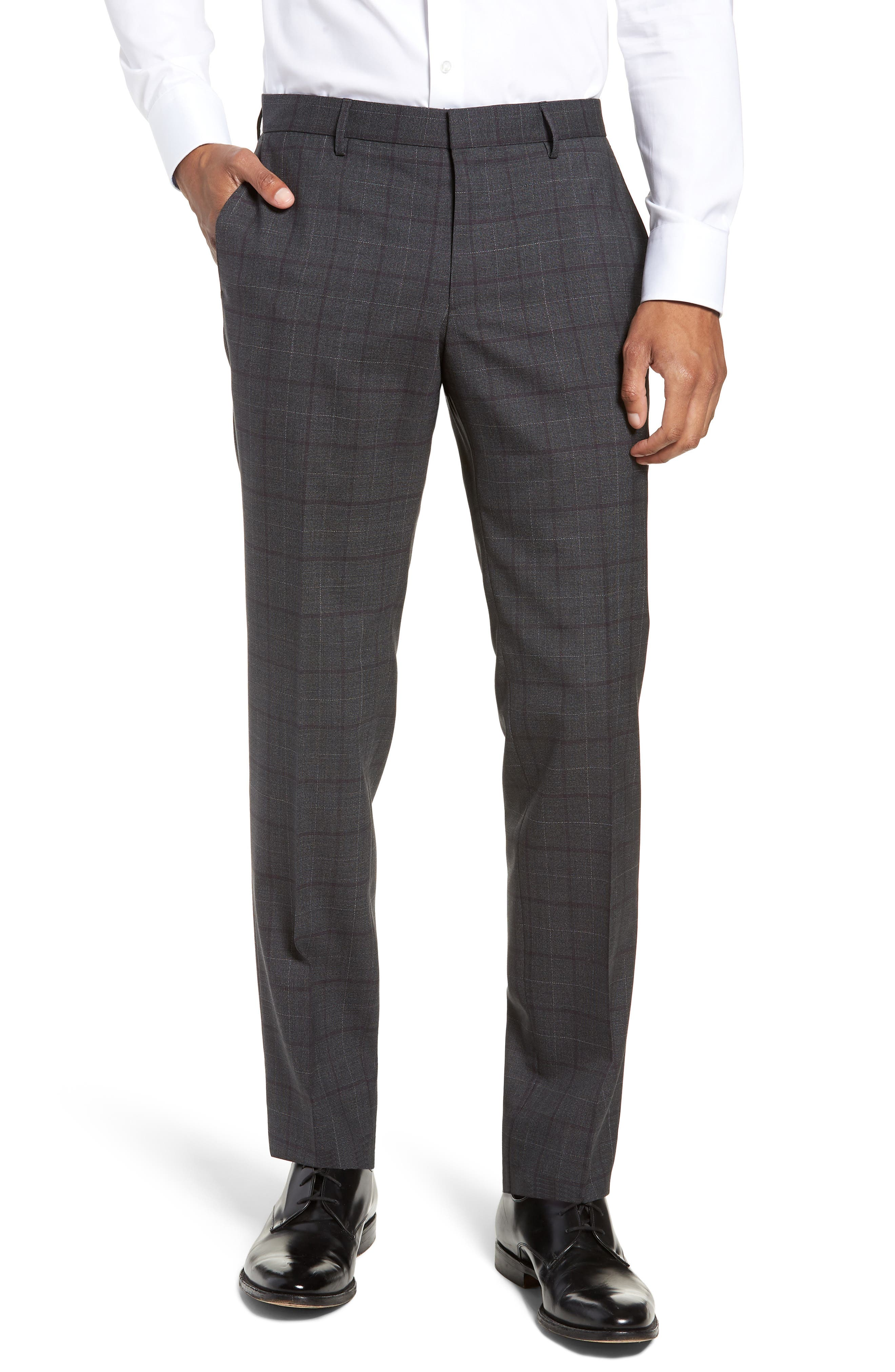 BOSS, Novan/Ben Trim Fit Plaid Wool Suit, Alternate thumbnail 6, color, 506