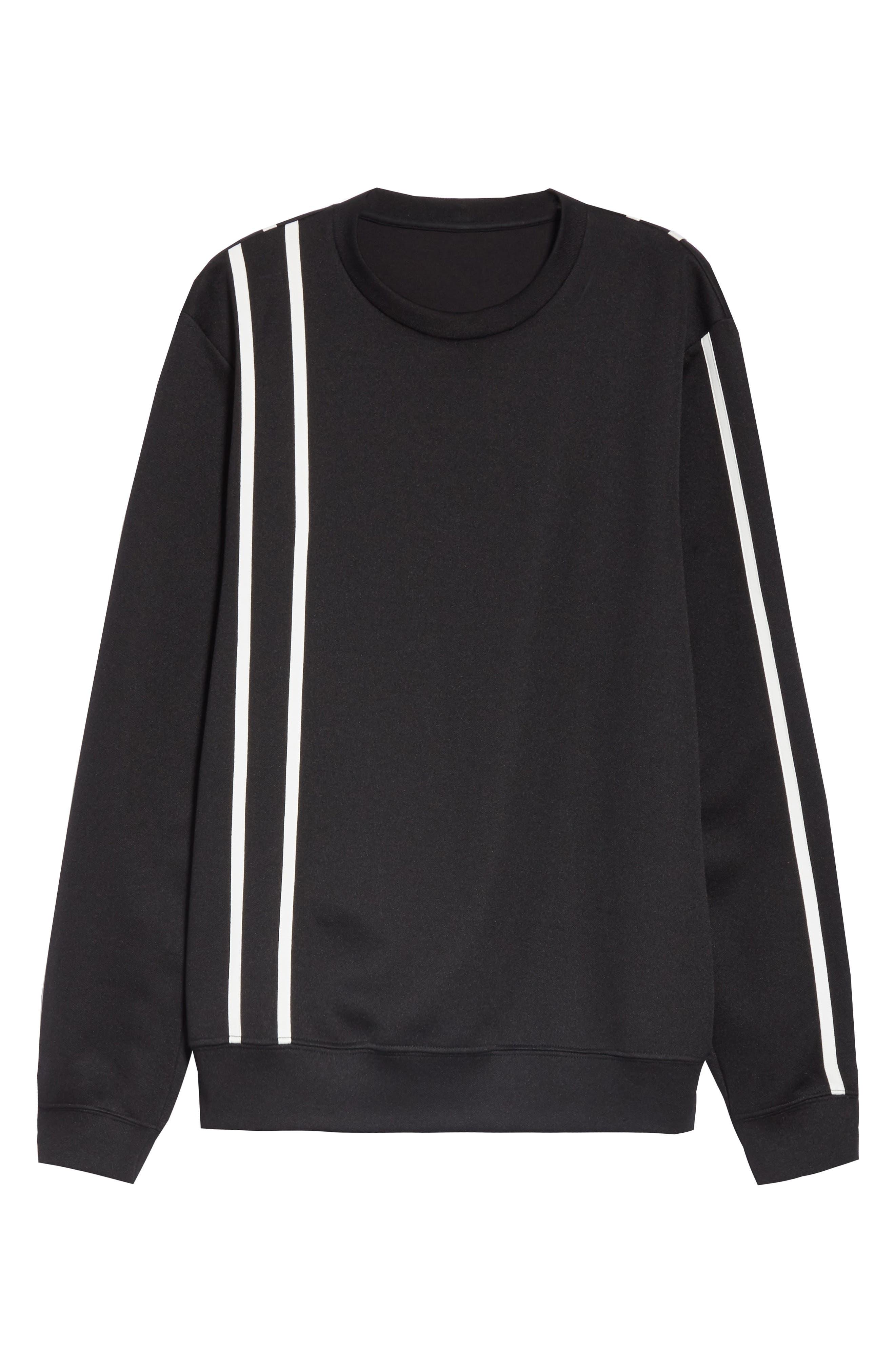 HELMUT LANG, Sport Stripe Print Sweatshirt, Alternate thumbnail 6, color, BLACK AND WHITE