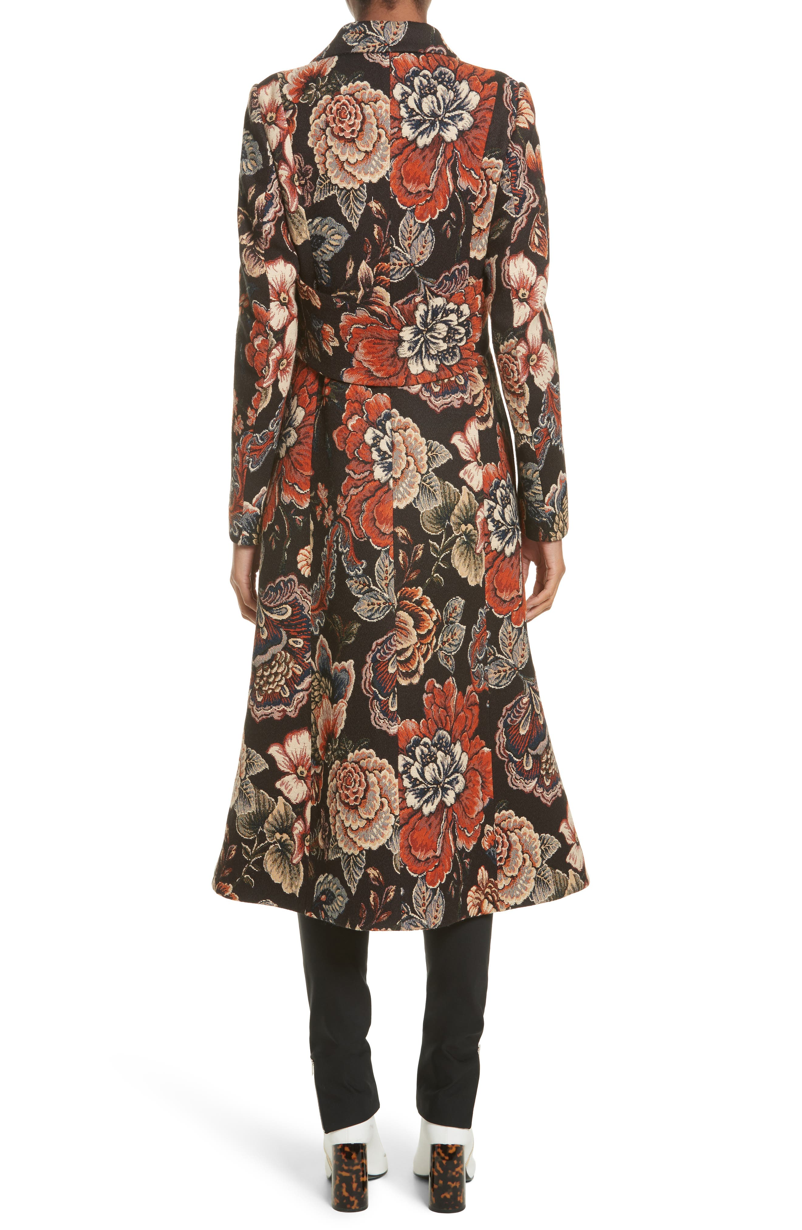 STELLA MCCARTNEY, Floral Tapestry Long Coat, Alternate thumbnail 2, color, 960