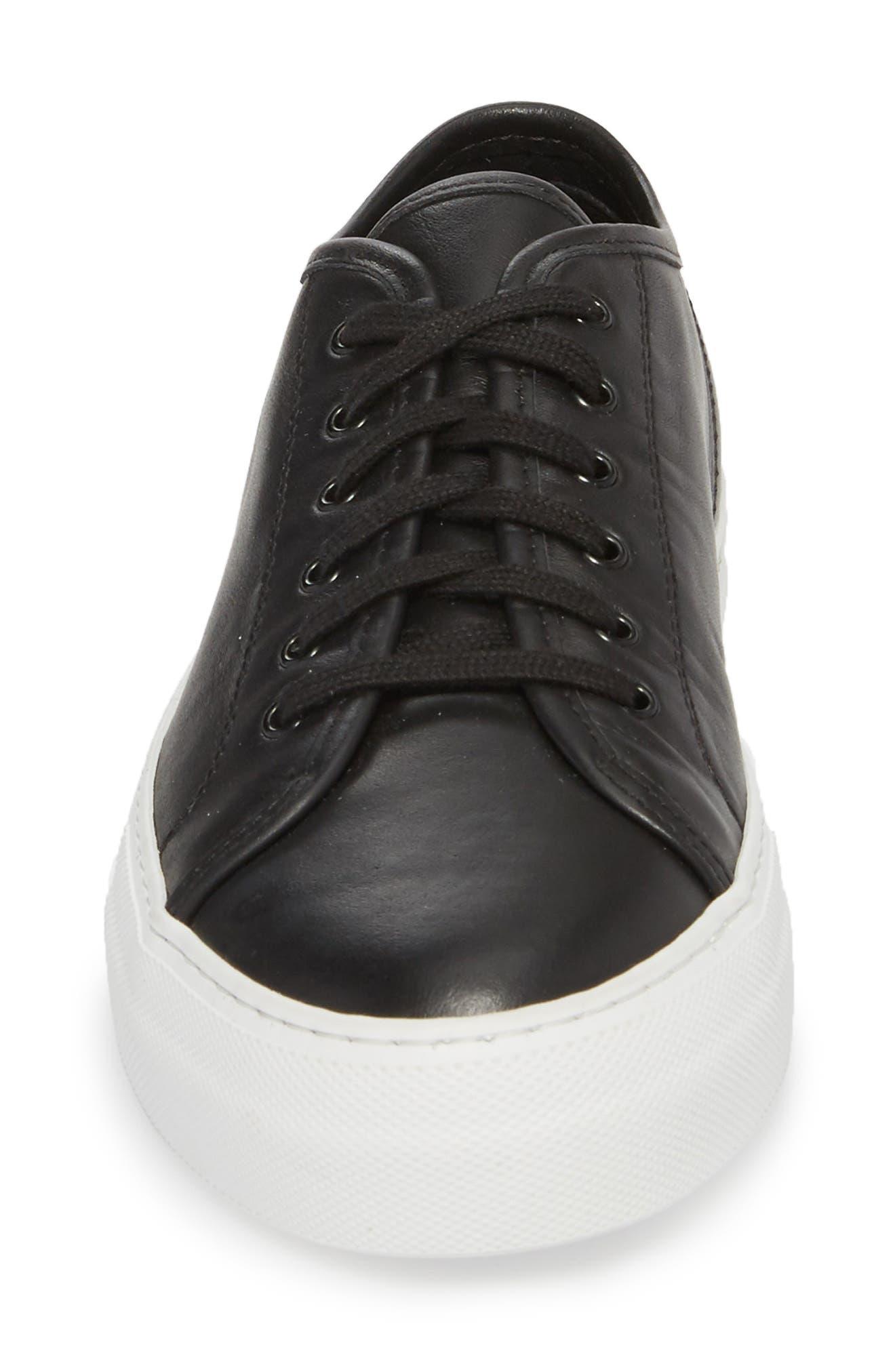 COMMON PROJECTS, Tournament Low Top Sneaker, Alternate thumbnail 4, color, BLACK