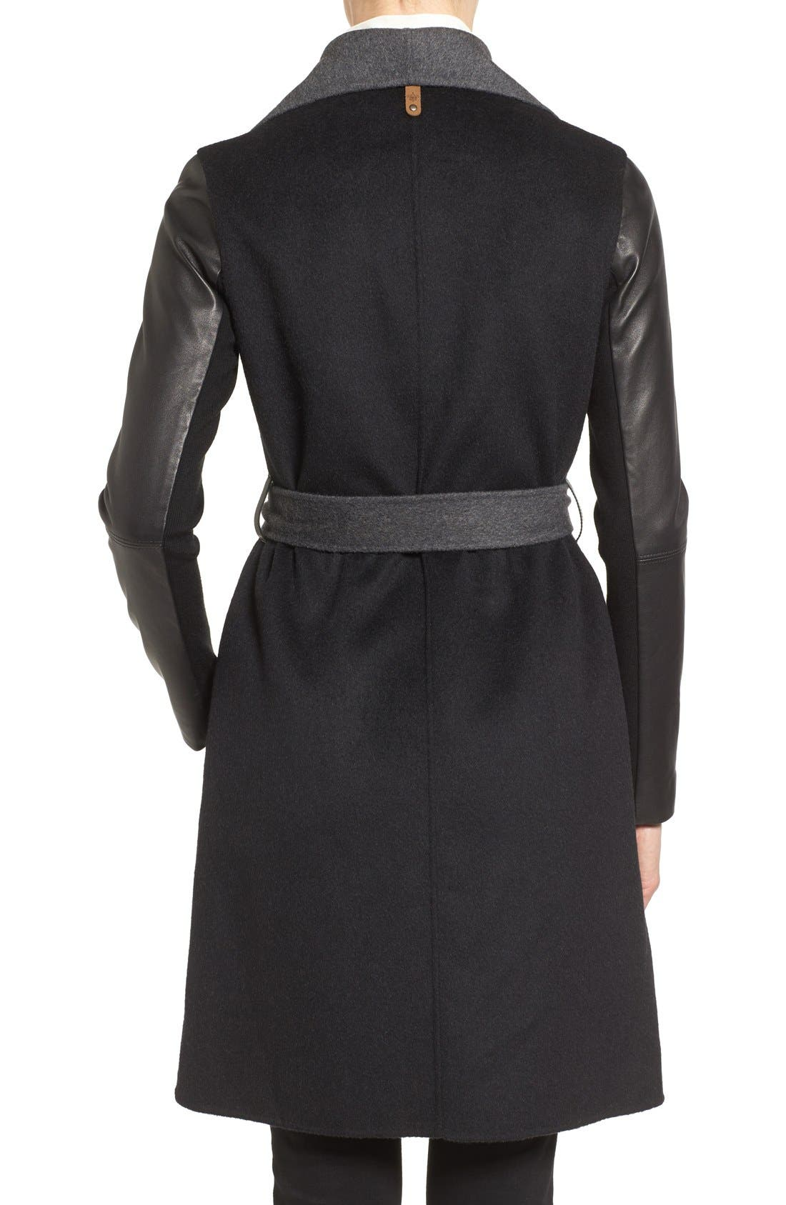 MACKAGE, Leather Sleeve Wool Blend Wrap Coat, Alternate thumbnail 2, color, 001
