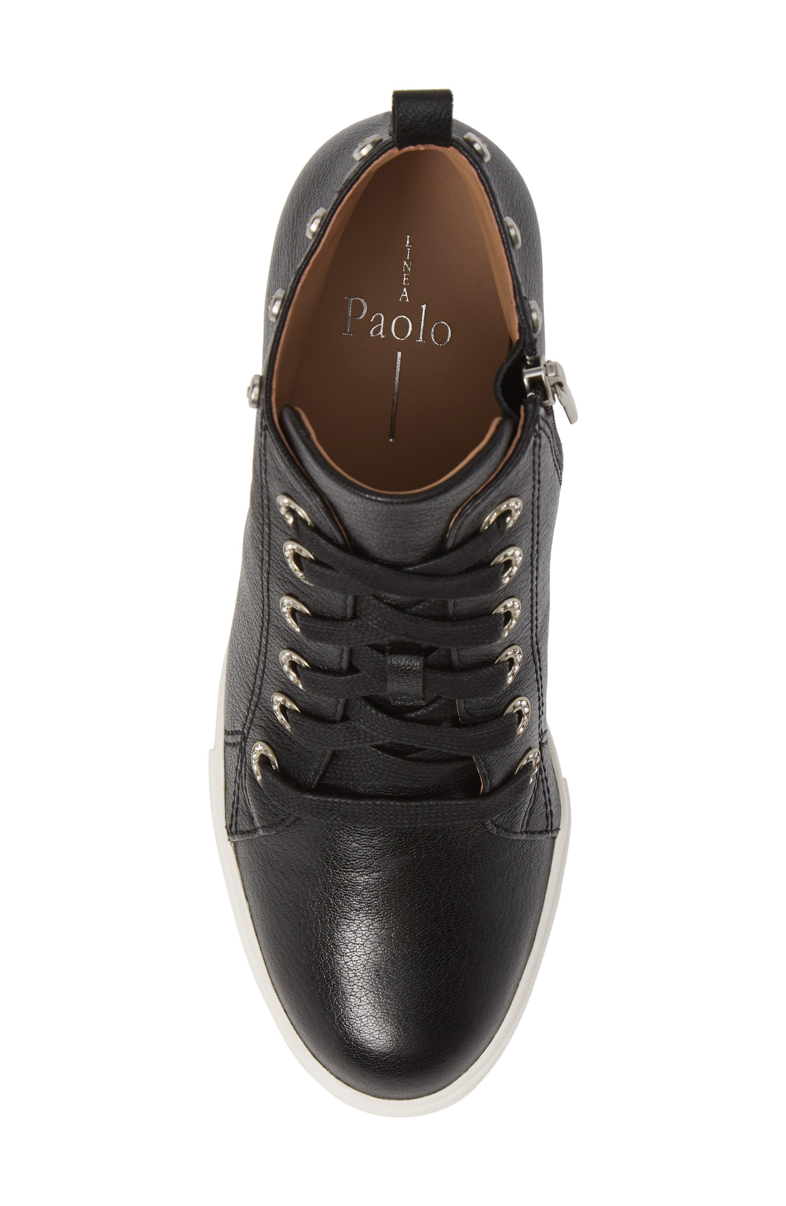 LINEA PAOLO, Flint Wedge Sneaker, Alternate thumbnail 5, color, BLACK LEATHER