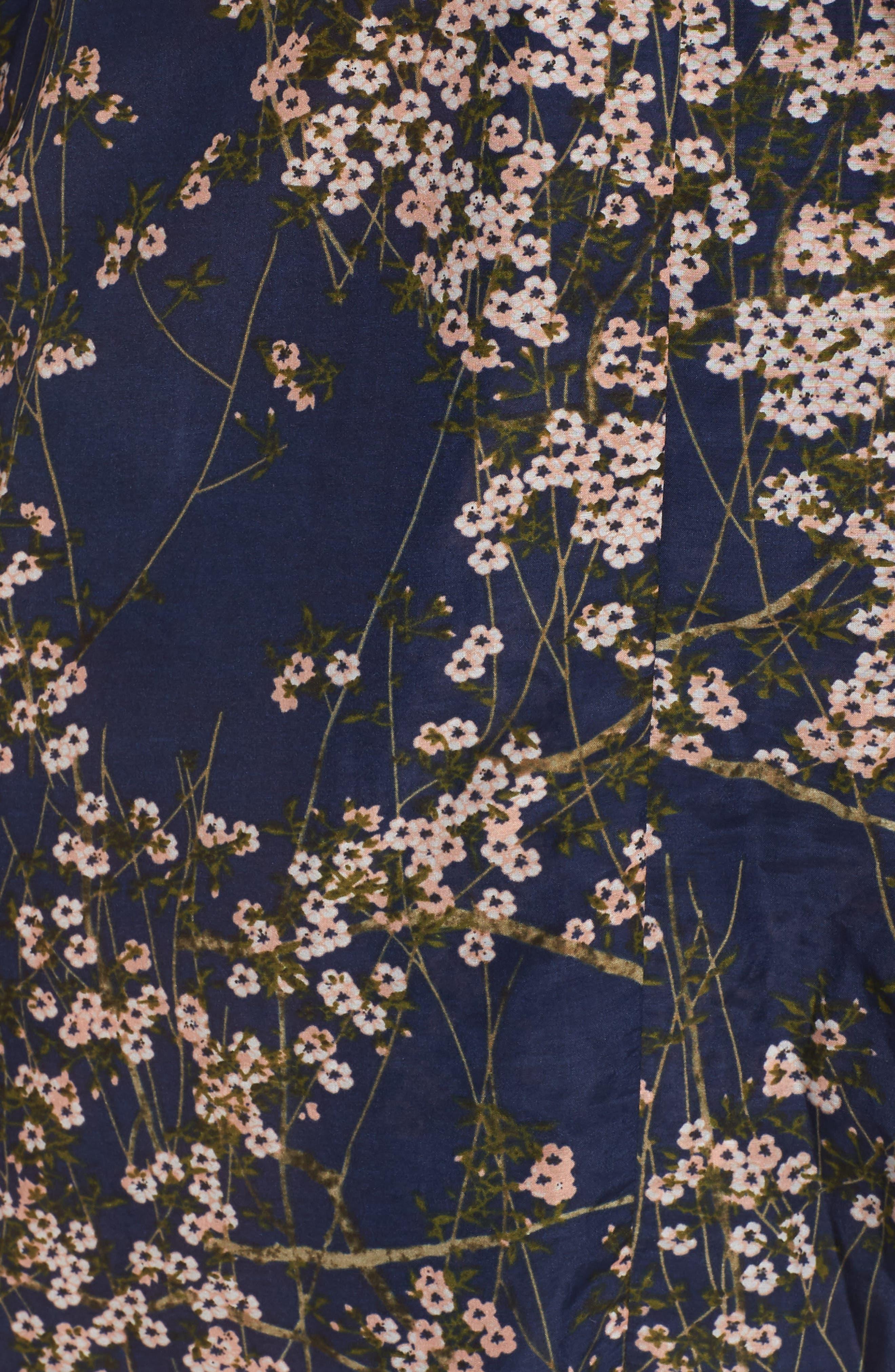 PAPINELLE, Cherry Blossom Short Robe, Alternate thumbnail 5, color, NAVY