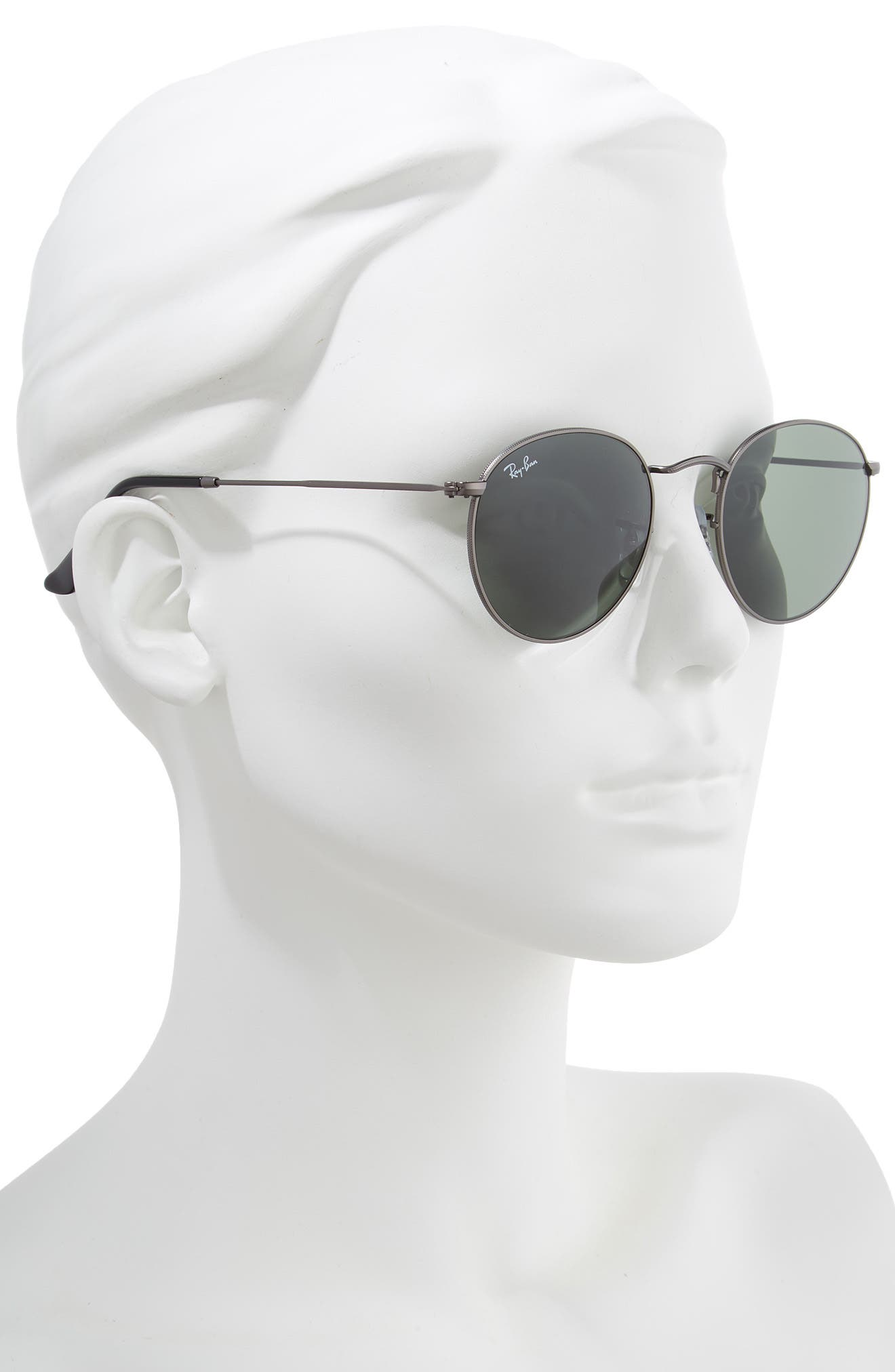RAY-BAN, Icons 50mm Round Metal Sunglasses, Alternate thumbnail 2, color, GUNMETAL/ GREEN SOLID