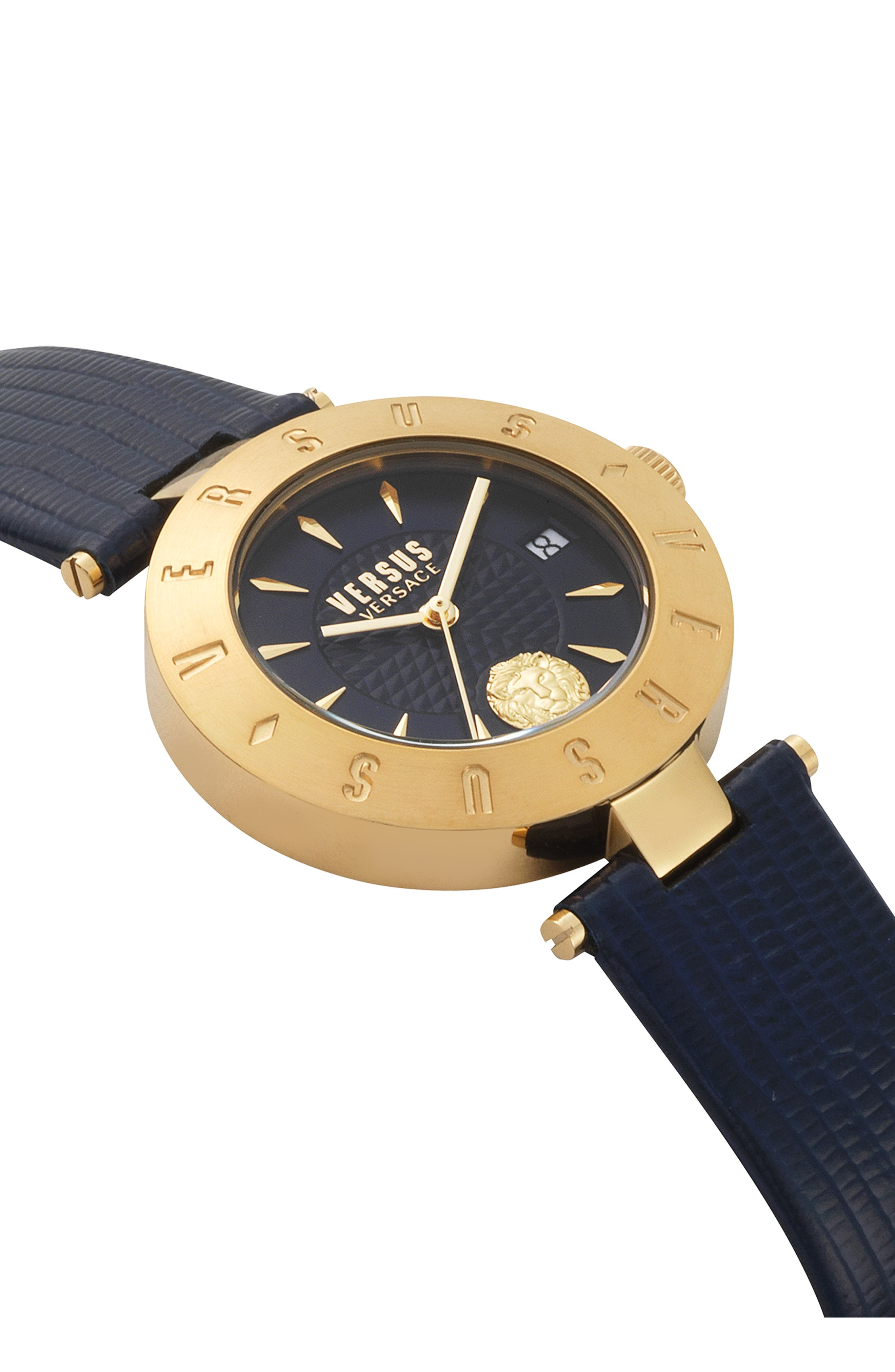 VERSUS VERSACE, Logo Leather Strap Watch, 34mm, Alternate thumbnail 3, color, BLUE/ GOLD