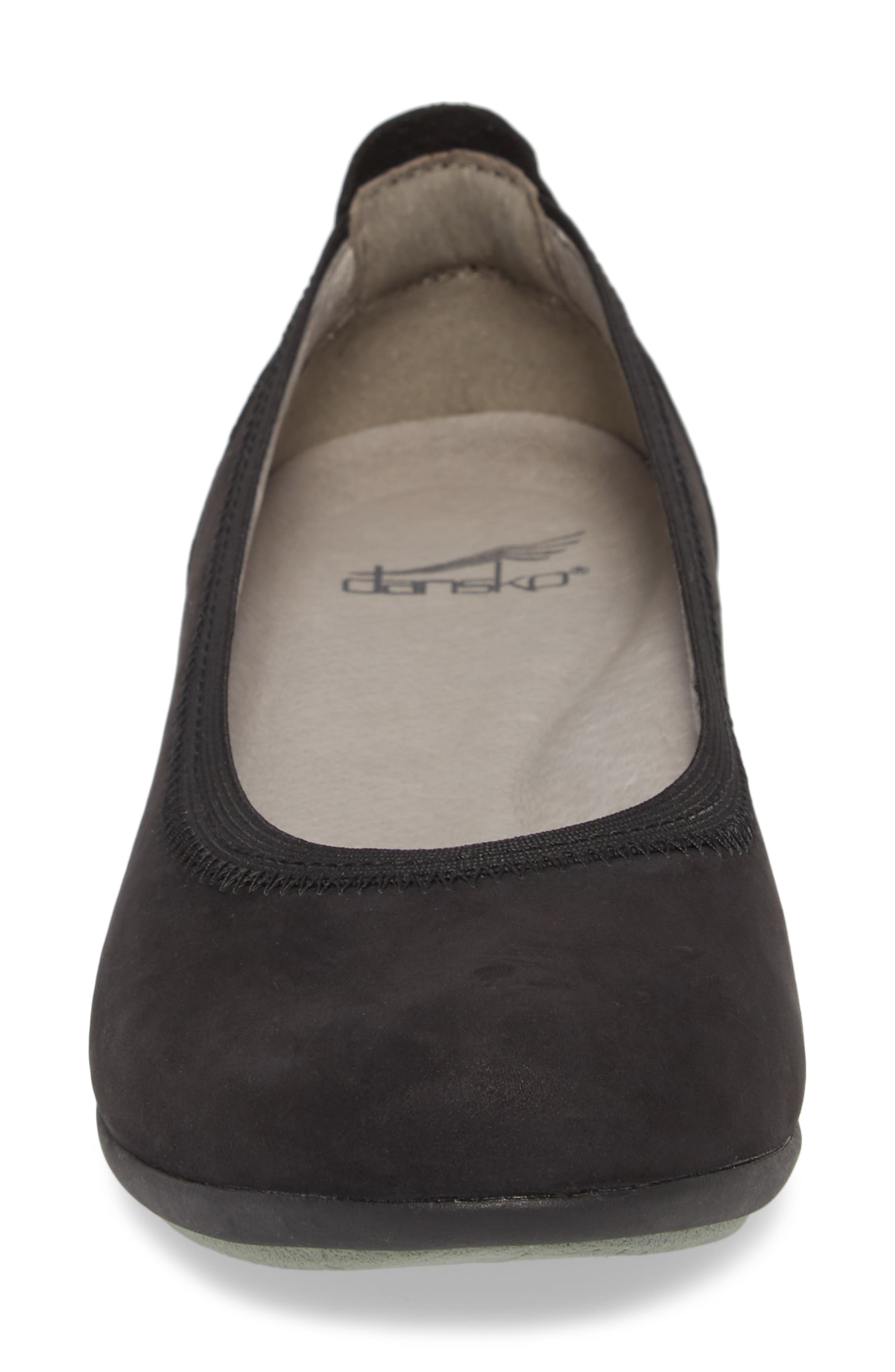 DANSKO, Kristen Ballet Flat, Alternate thumbnail 4, color, BLACK MILLED NUBUCK