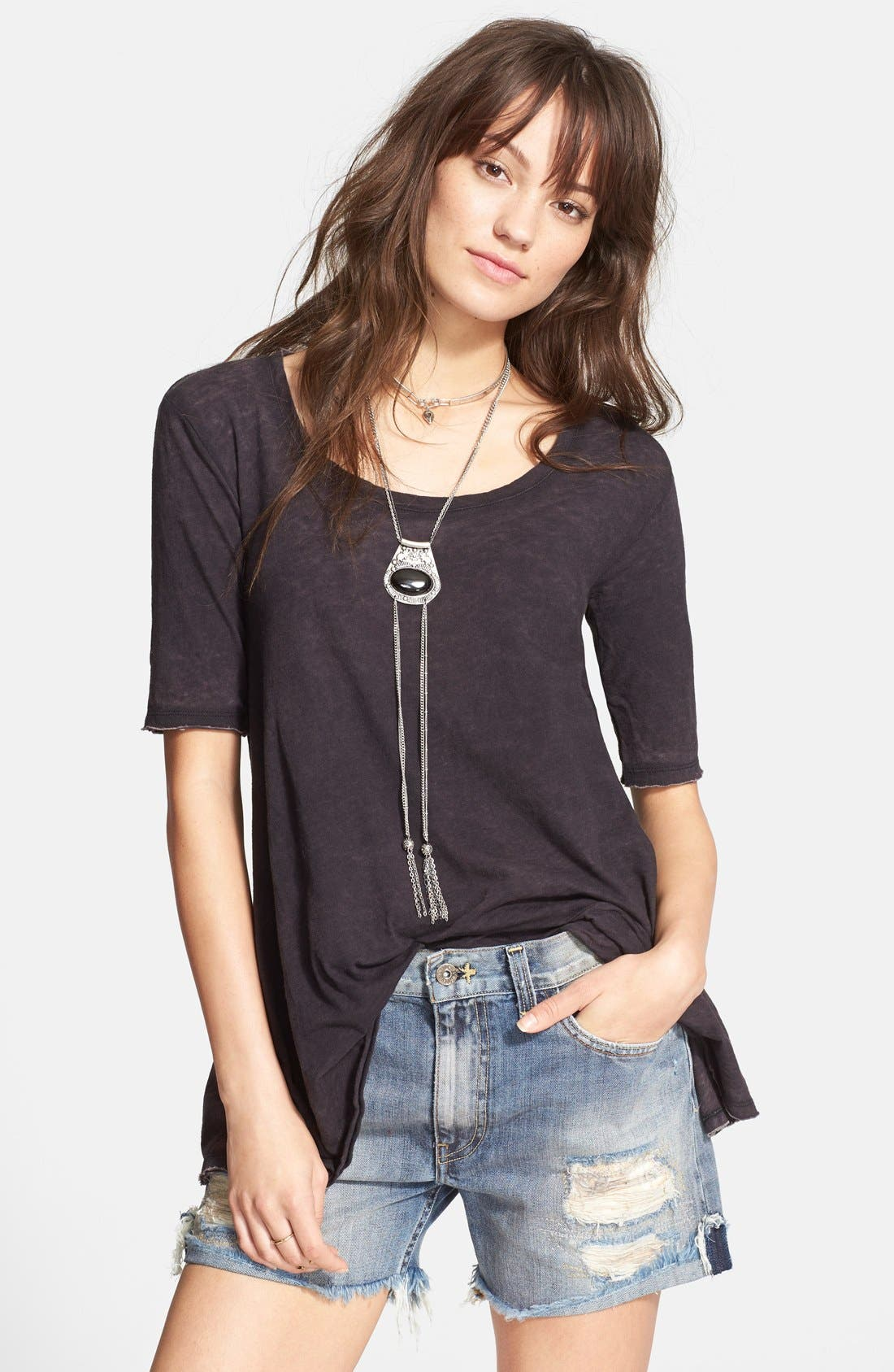 FREE PEOPLE, 'Melrose' Peplum Hem Tee, Main thumbnail 1, color, 001