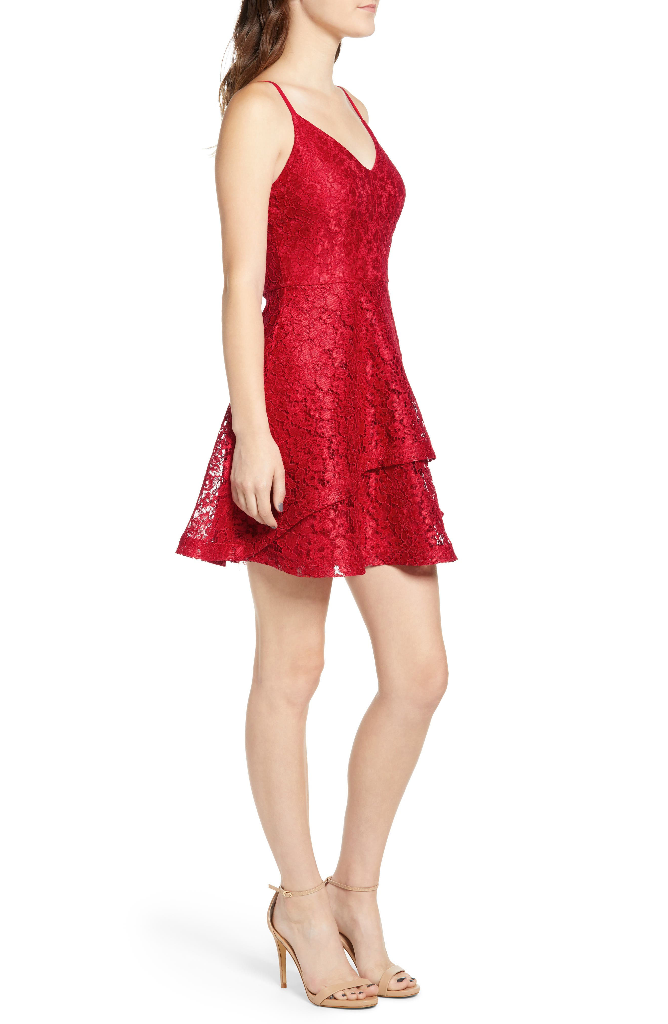 SPEECHLESS, Lace Fit & Flare Dress, Alternate thumbnail 4, color, 600