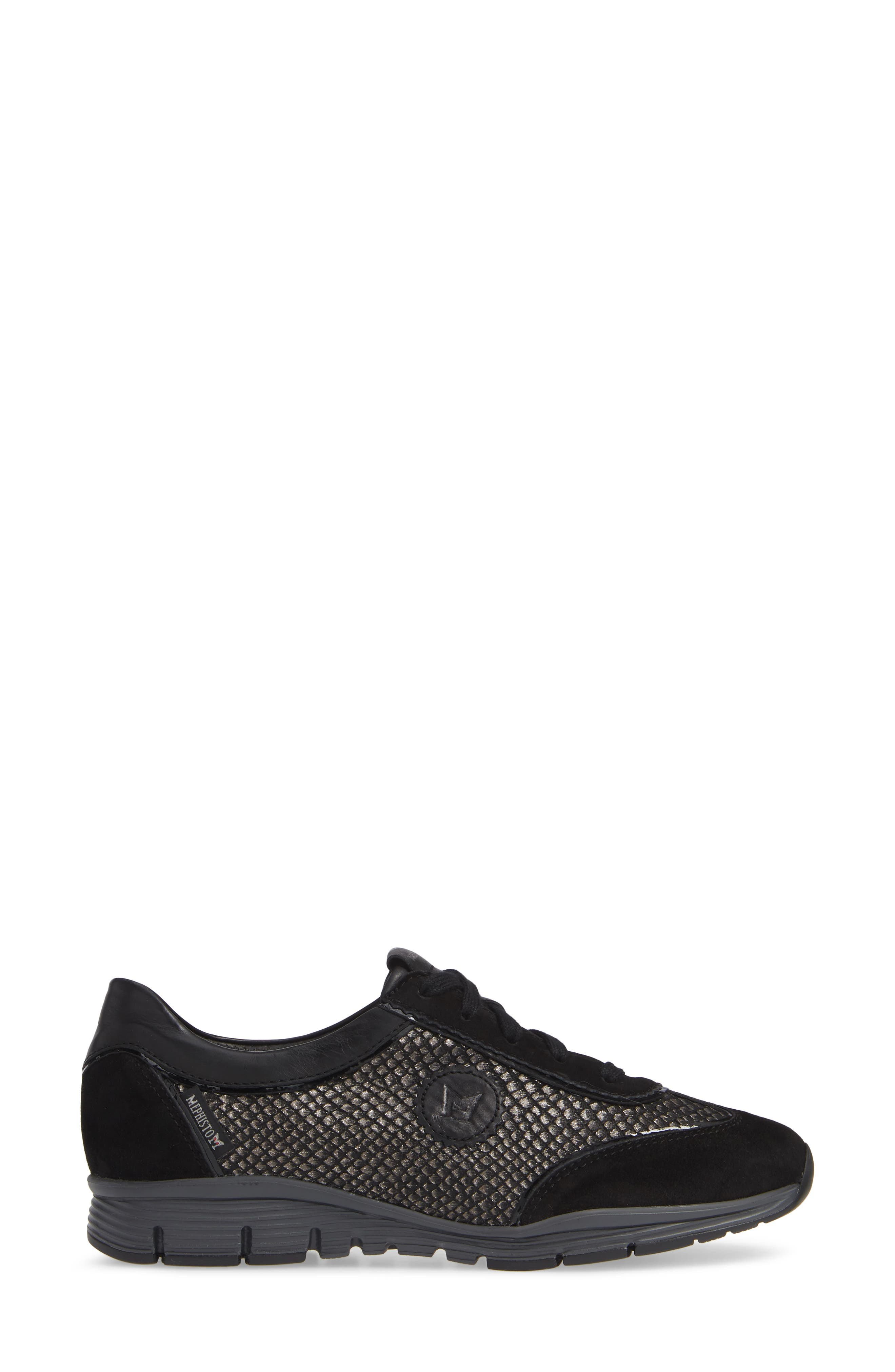 MEPHISTO, 'Yael' Soft-Air Sneaker, Alternate thumbnail 3, color, BLACK SUEDE