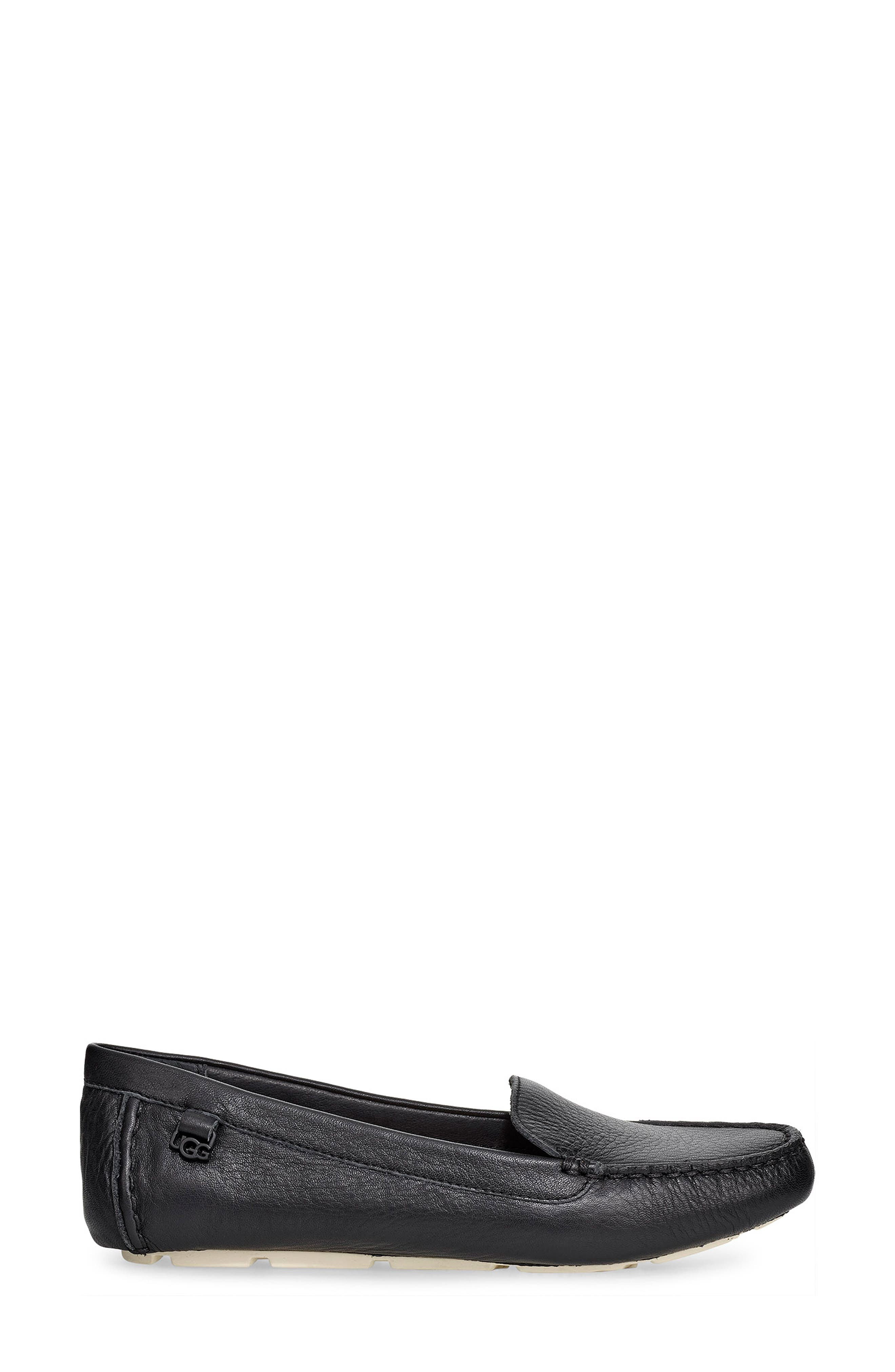 UGG<SUP>®</SUP>, Flores Driving Loafer, Alternate thumbnail 3, color, BLACK LEATHER