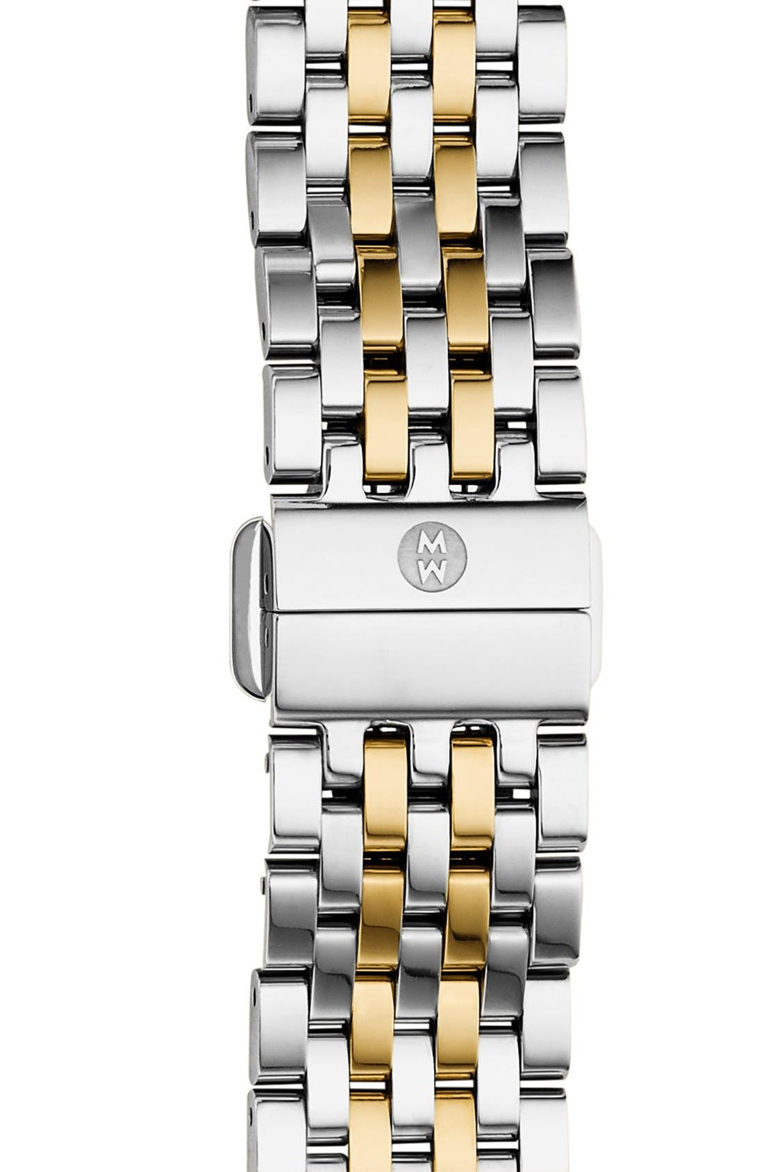 MICHELE, Deco II Mid 16mm Bracelet Watchband, Main thumbnail 1, color, SILVER/ GOLD