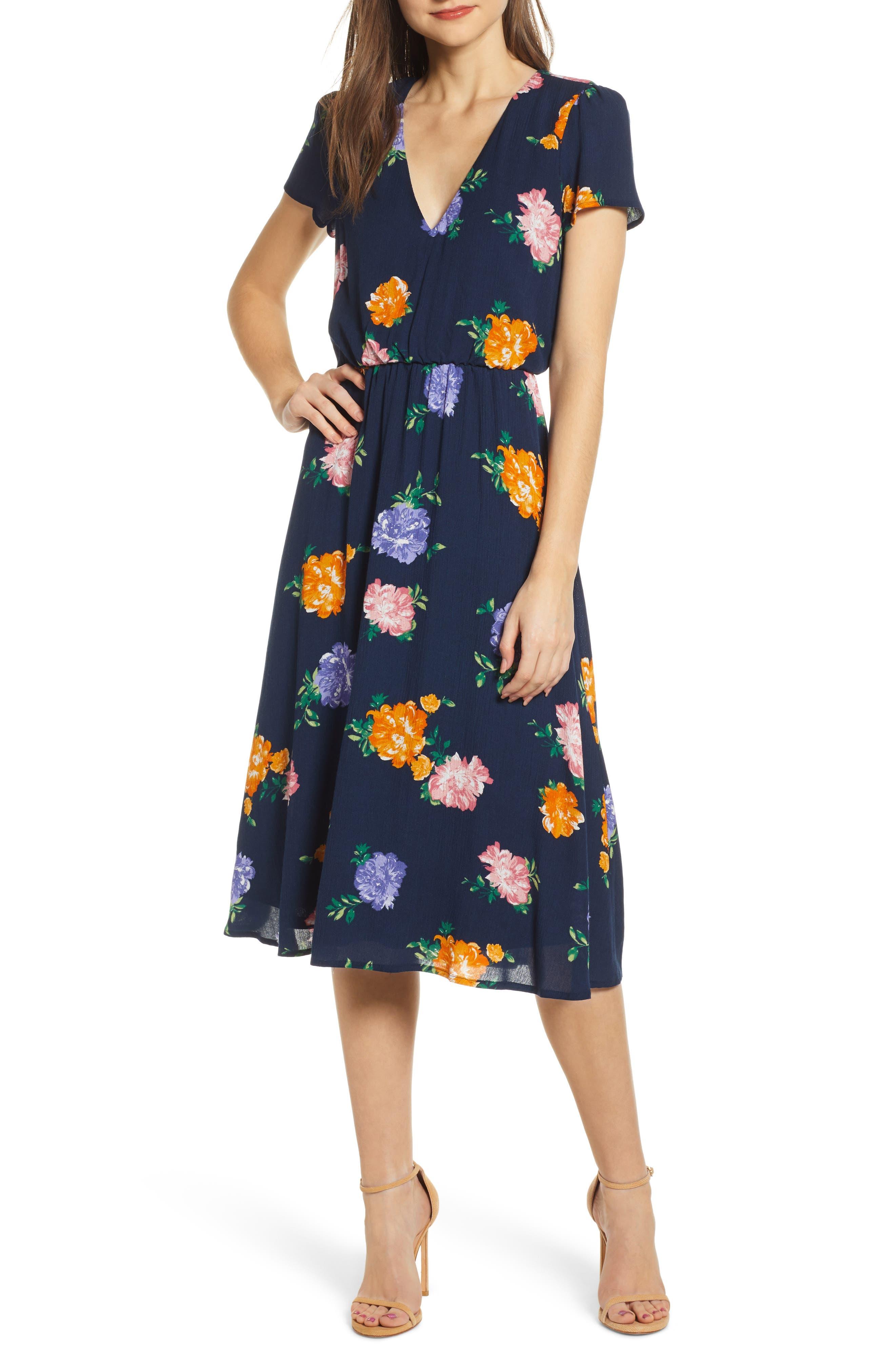 WAYF Blouson Midi Dress, Main, color, NAVY FLORAL