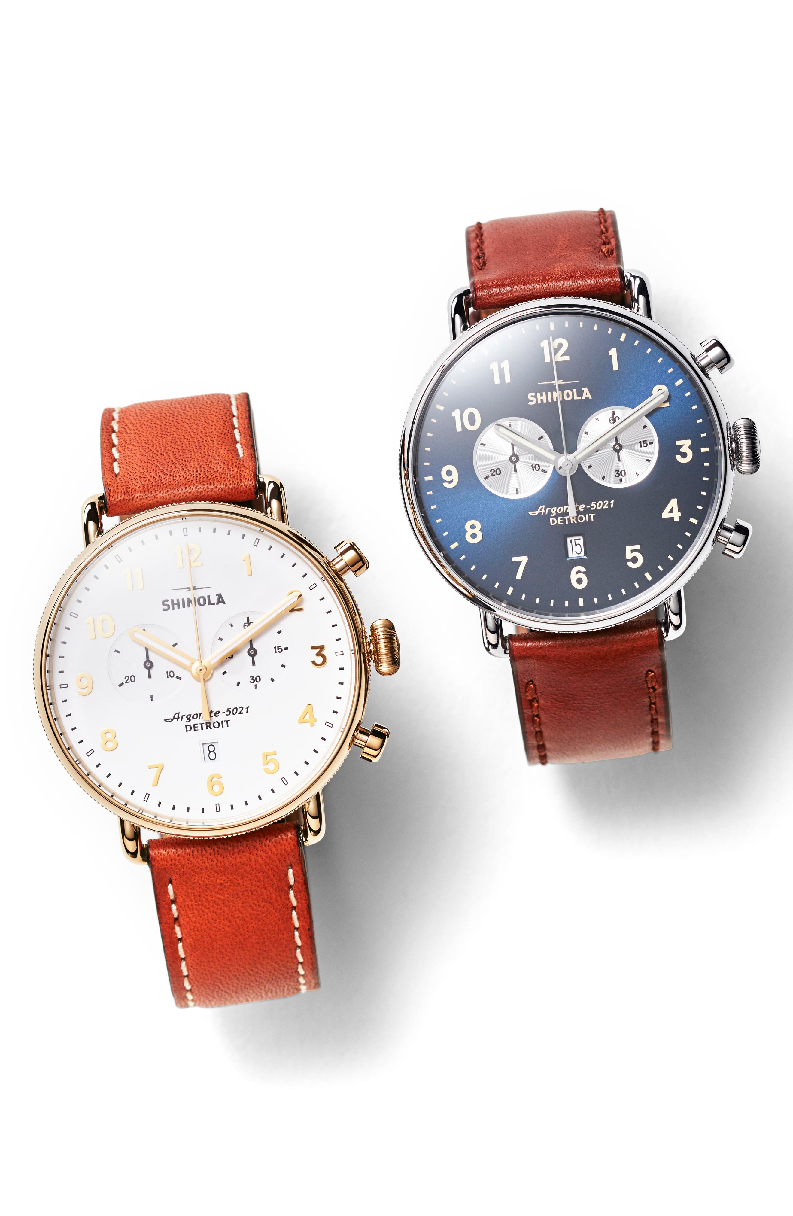 SHINOLA, The Canfield Chrono Leather Strap Watch, 43mm, Alternate thumbnail 5, color, DARK COGNAC/ MIDNIGHT BLUE