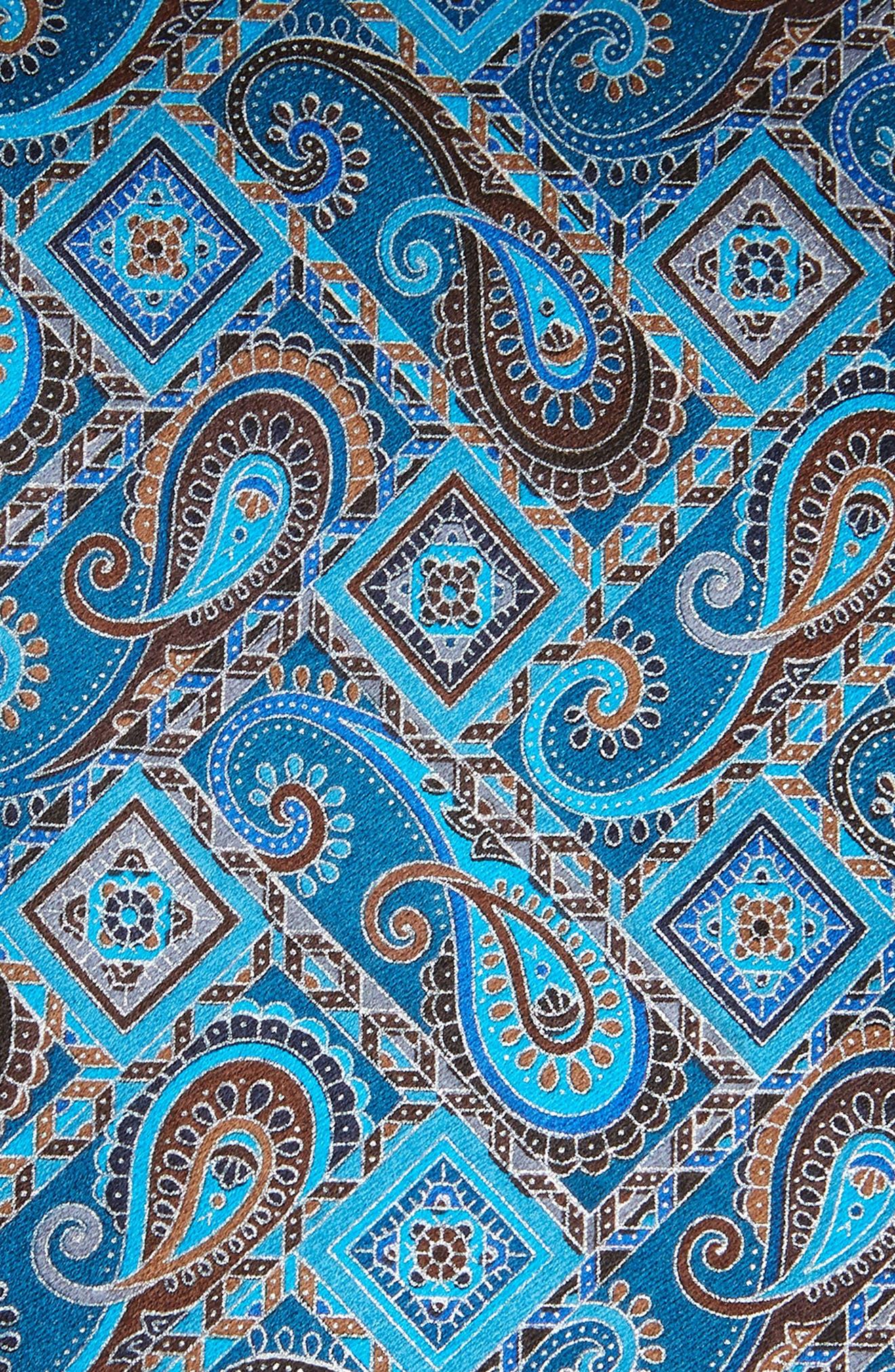 ERMENEGILDO ZEGNA, Quindici + Quindici Paisley Silk Tie, Alternate thumbnail 2, color, BLUE