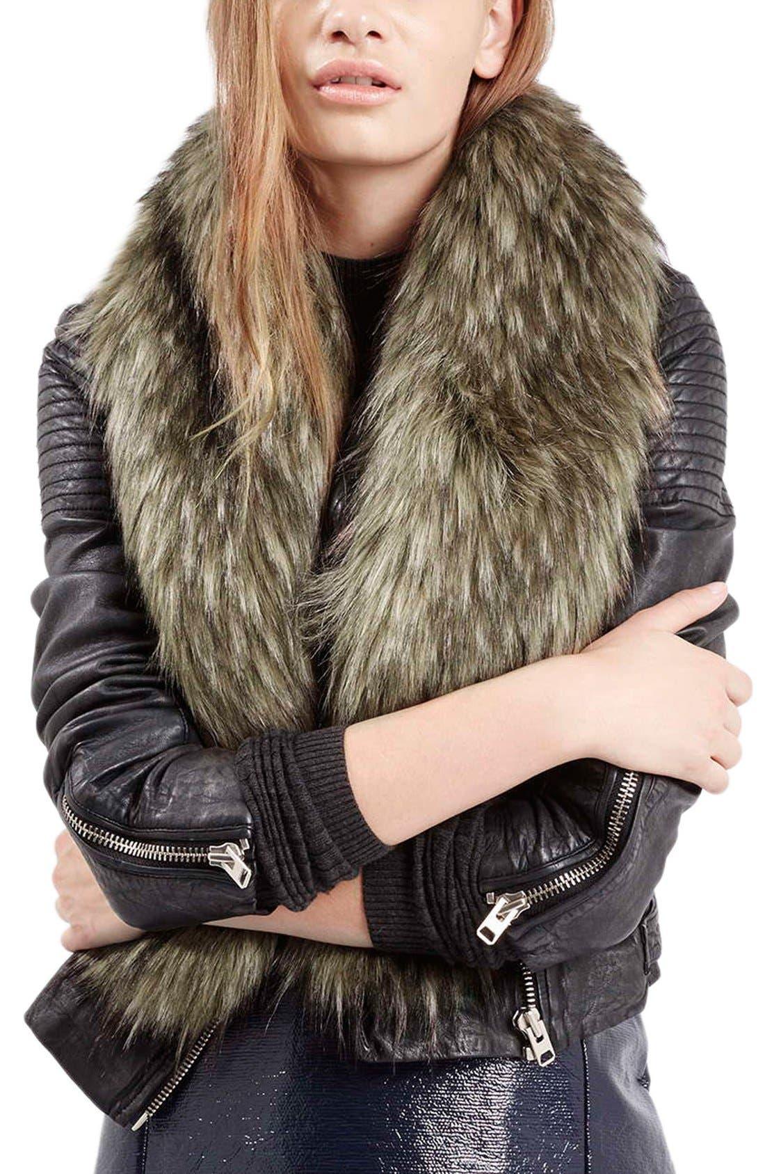 TOPSHOP, Faux Coyote Fur Stole, Main thumbnail 1, color, 200