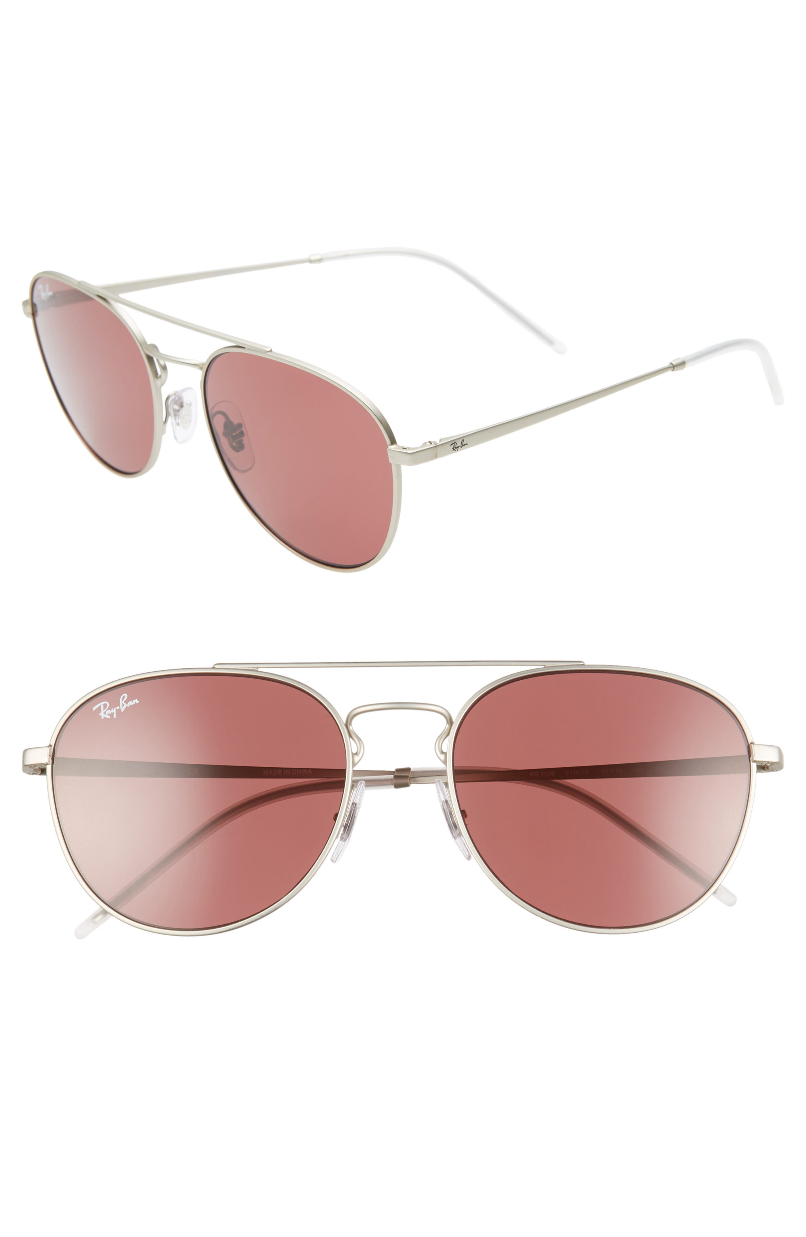 Ray-Ban 55Mm Aviator Sunglasses - Silver/ Red Solid