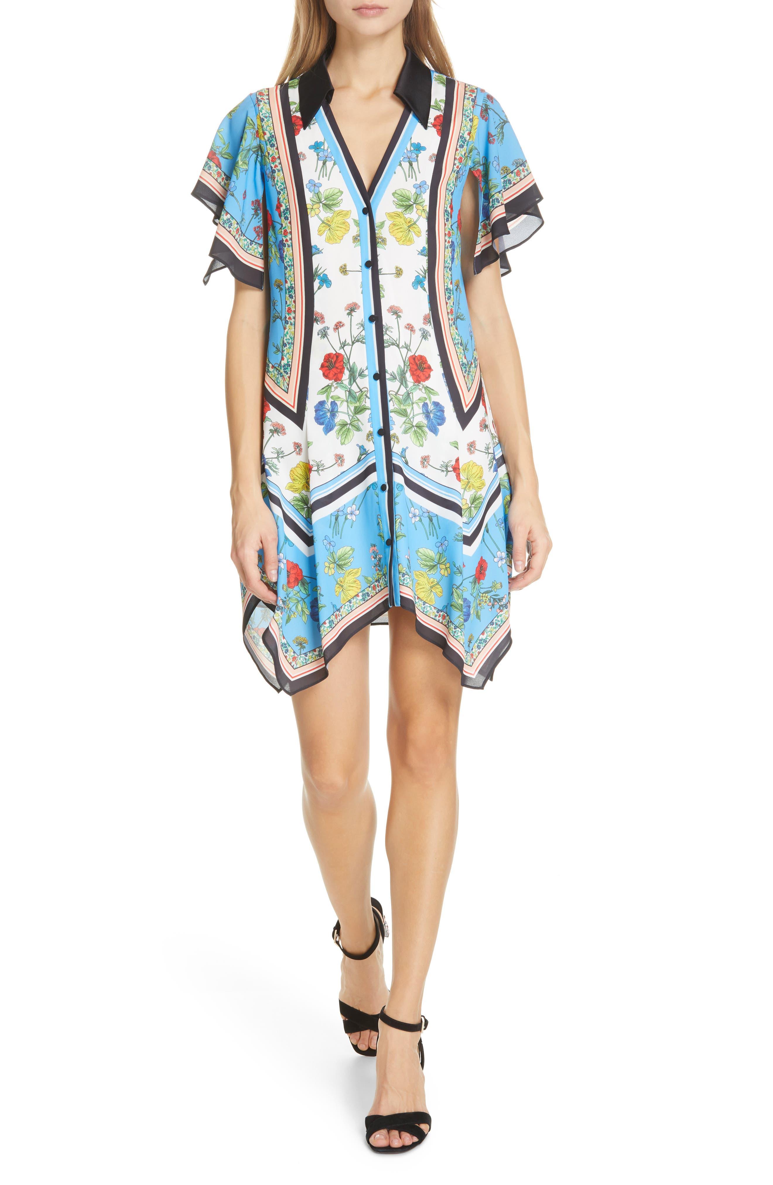 Alice + Olivia Conner Handkerchief Hem Dress, Blue