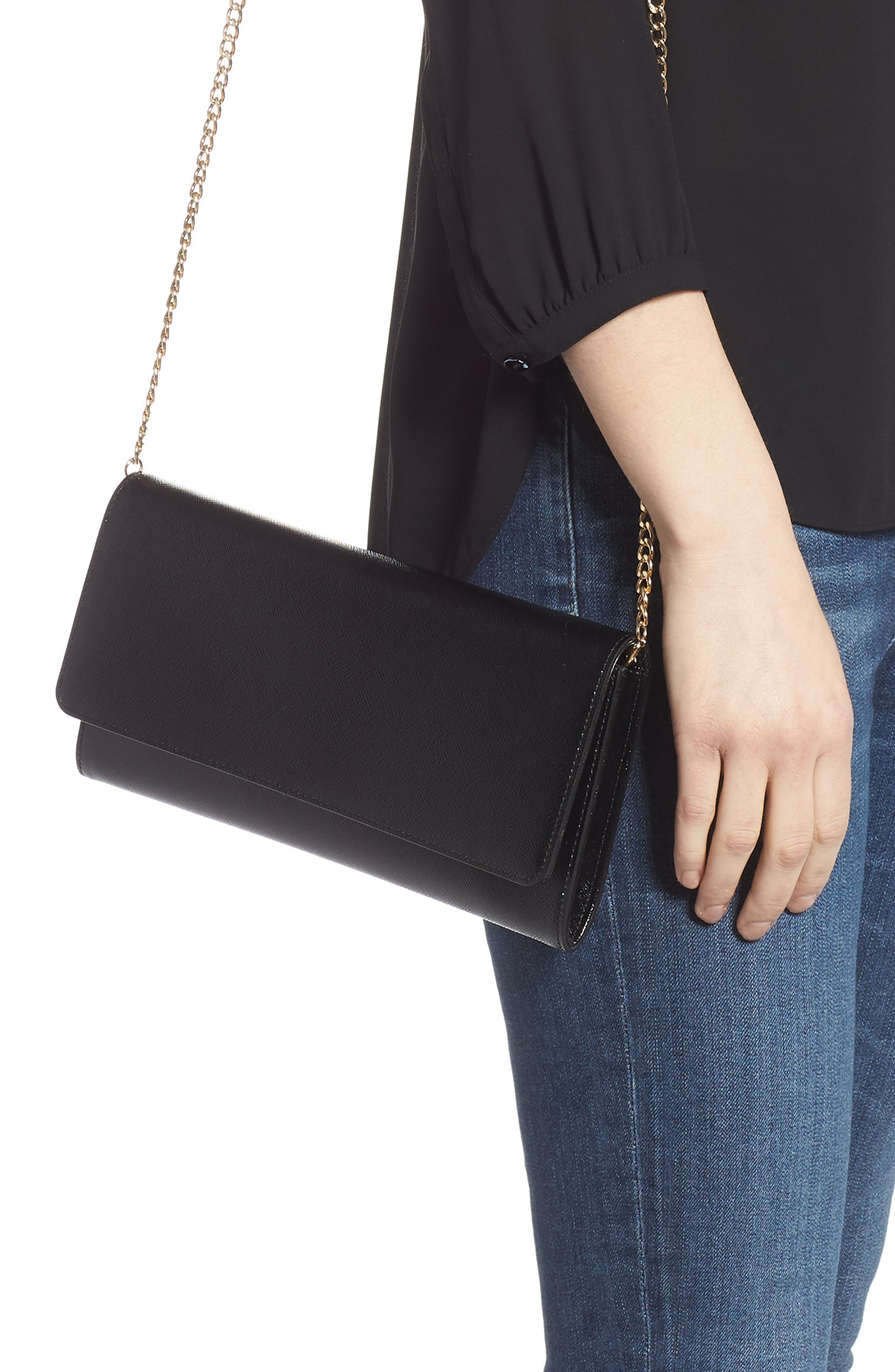 NORDSTROM, Selena Leather Clutch, Alternate thumbnail 2, color, BLACK