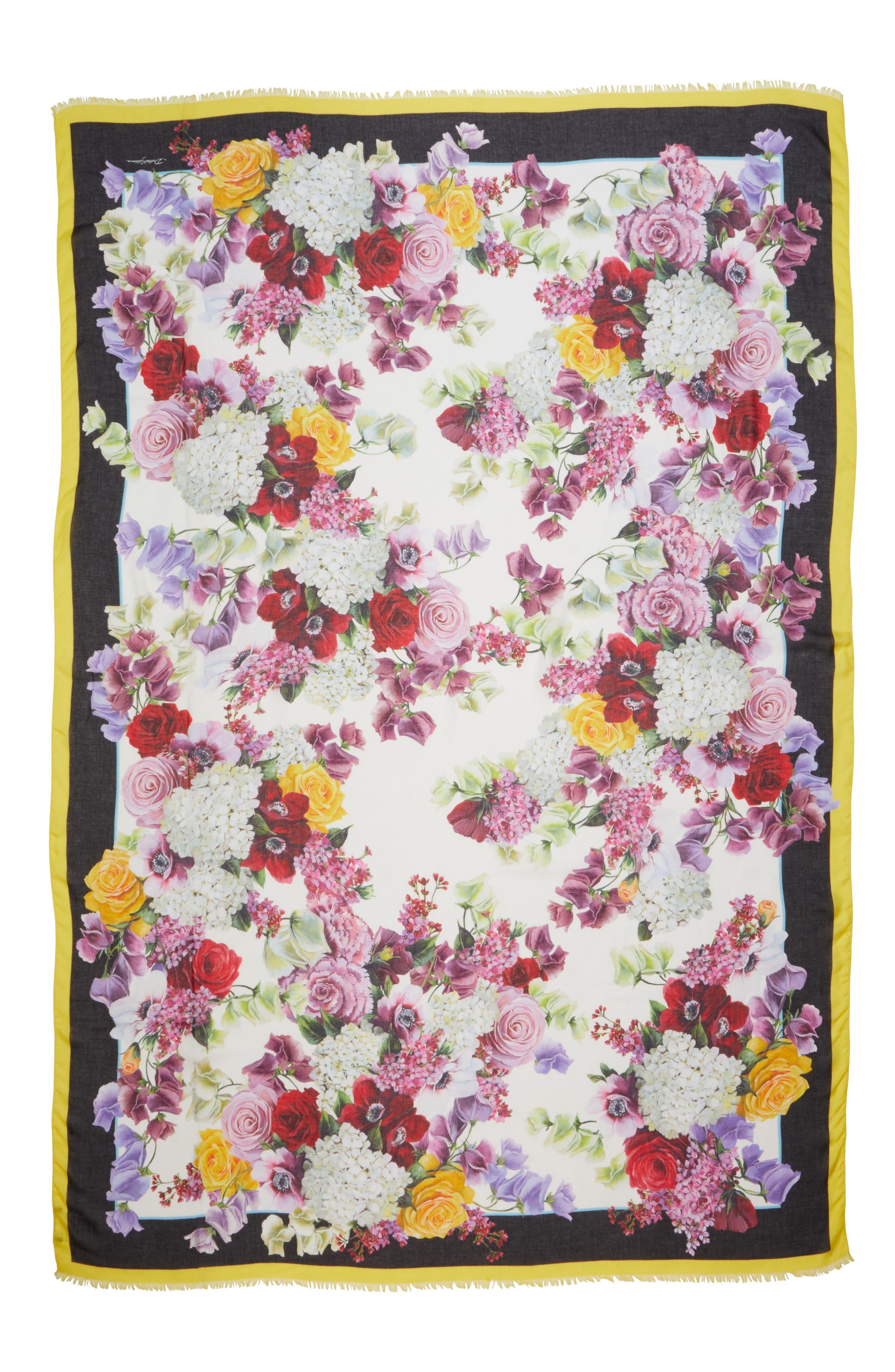 DOLCE&GABBANA, Floral Print Modal & Cashmere Scarf, Main thumbnail 1, color, PINK FLORAL