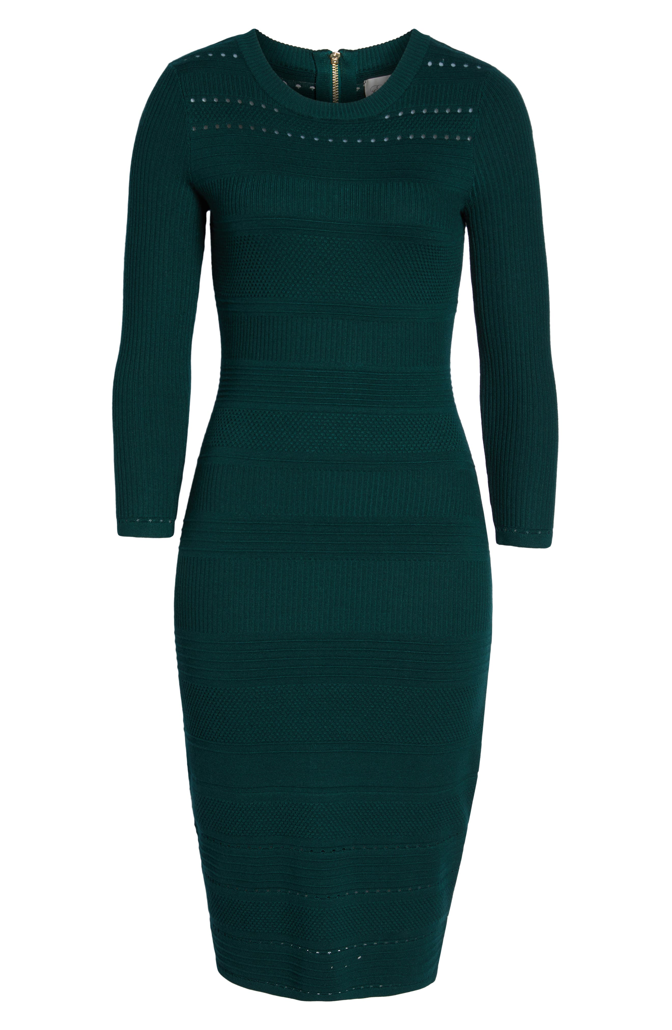 ELIZA J, Stitch Detail Sweater Dress, Alternate thumbnail 7, color, GREEN