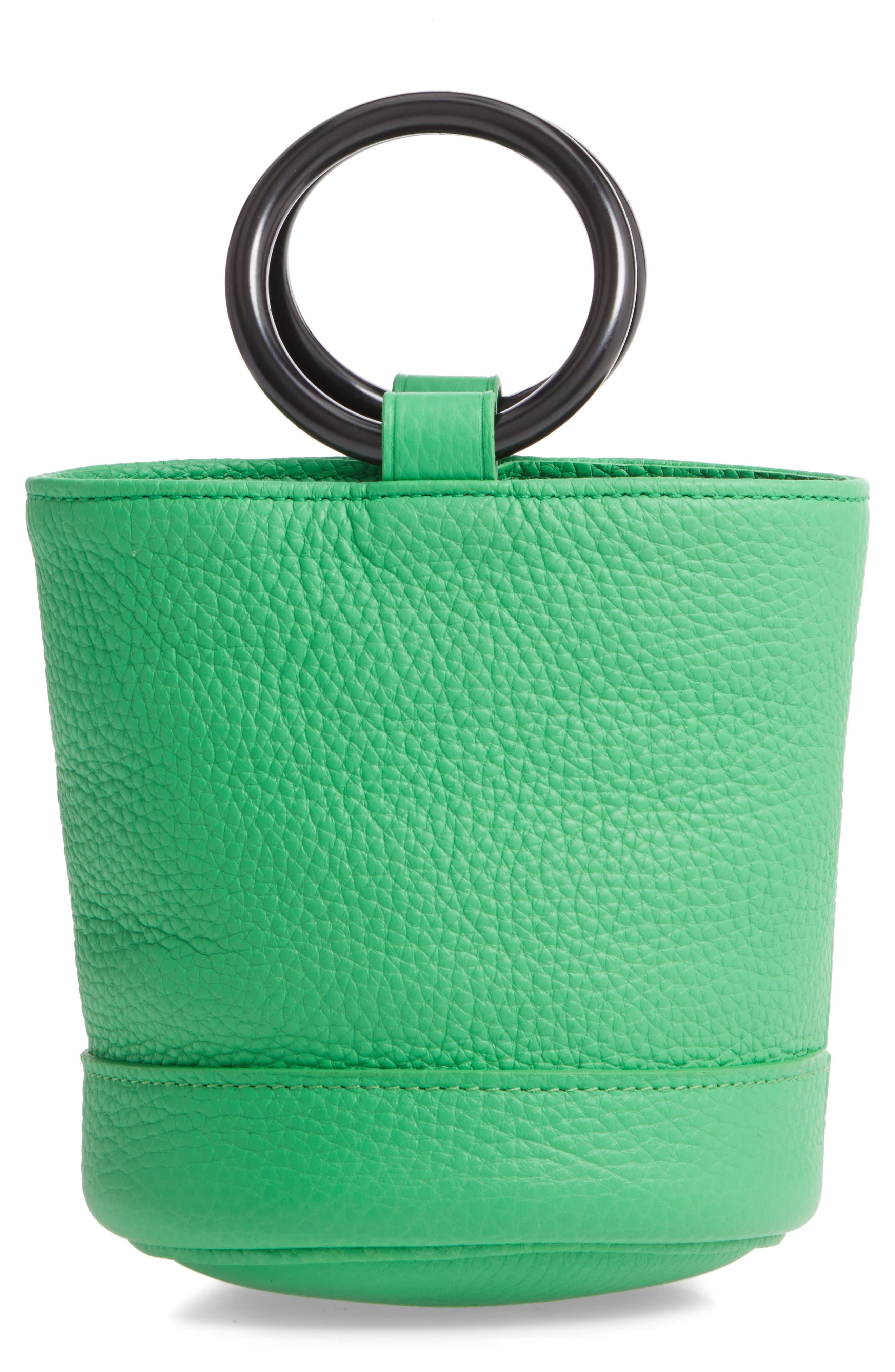 SIMON MILLER, Bonsai 15 Calfskin Leather Bucket Bag, Main thumbnail 1, color, NEON GREEN