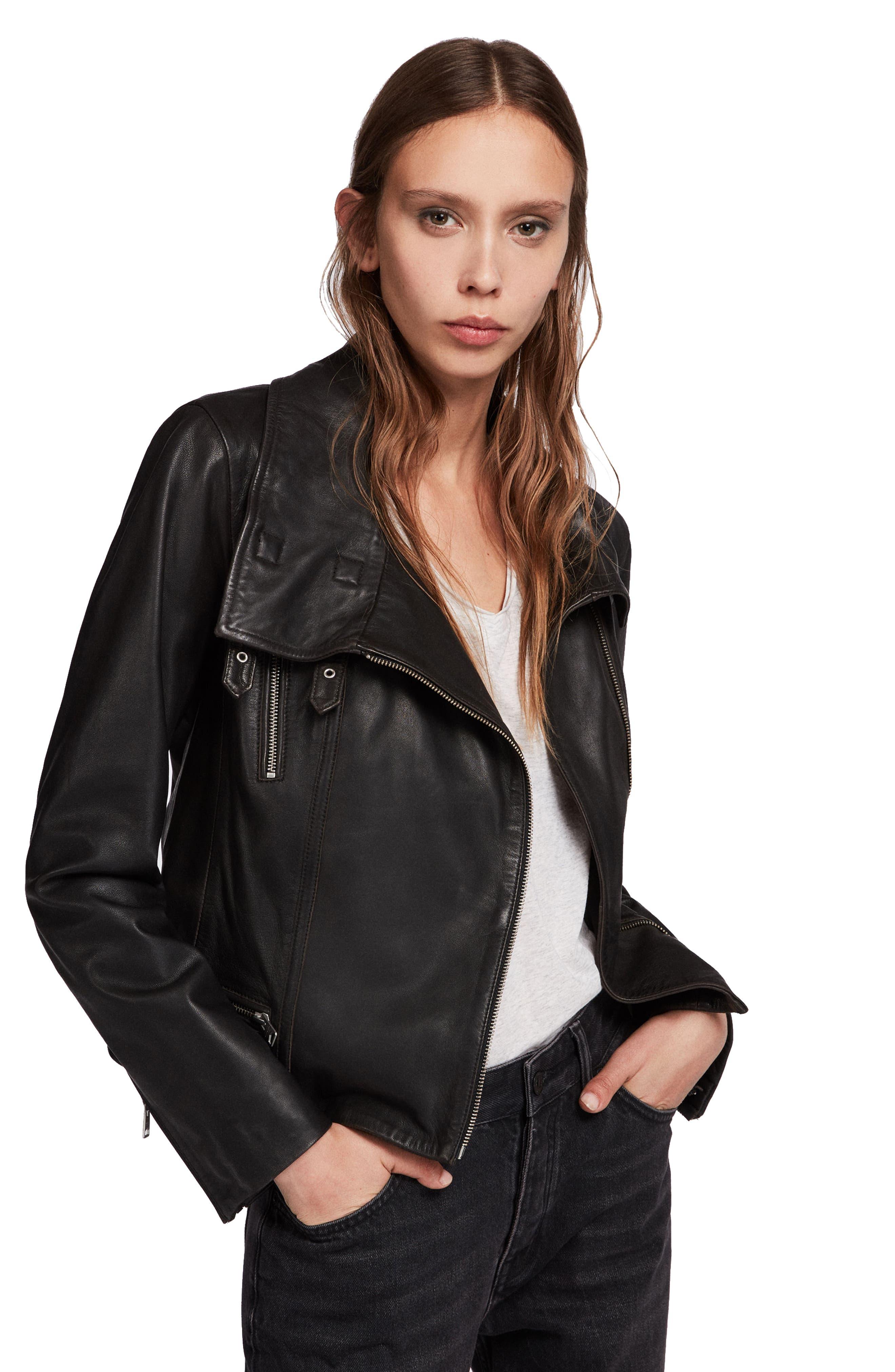 ALLSAINTS, Bales Leather Biker Jacket, Alternate thumbnail 5, color, BLACK