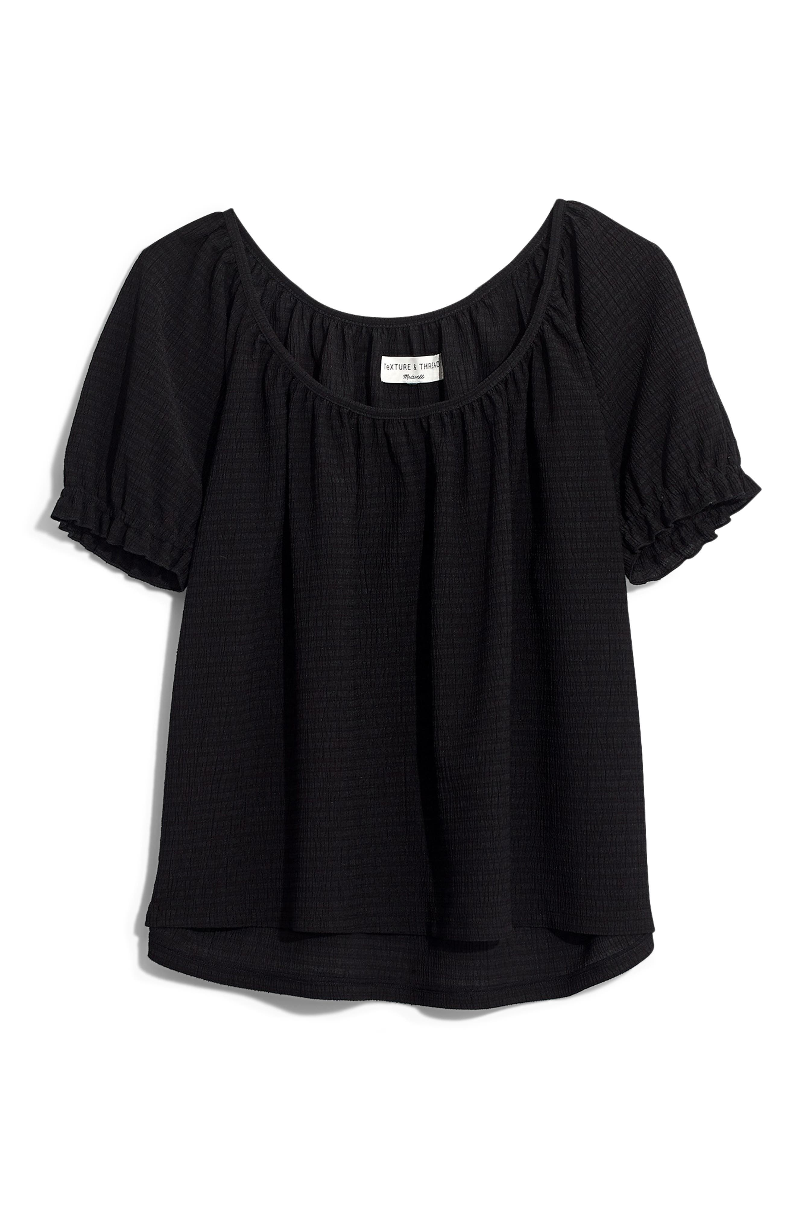 MADEWELL, Texture & Thread Peasant Top, Main thumbnail 1, color, TRUE BLACK