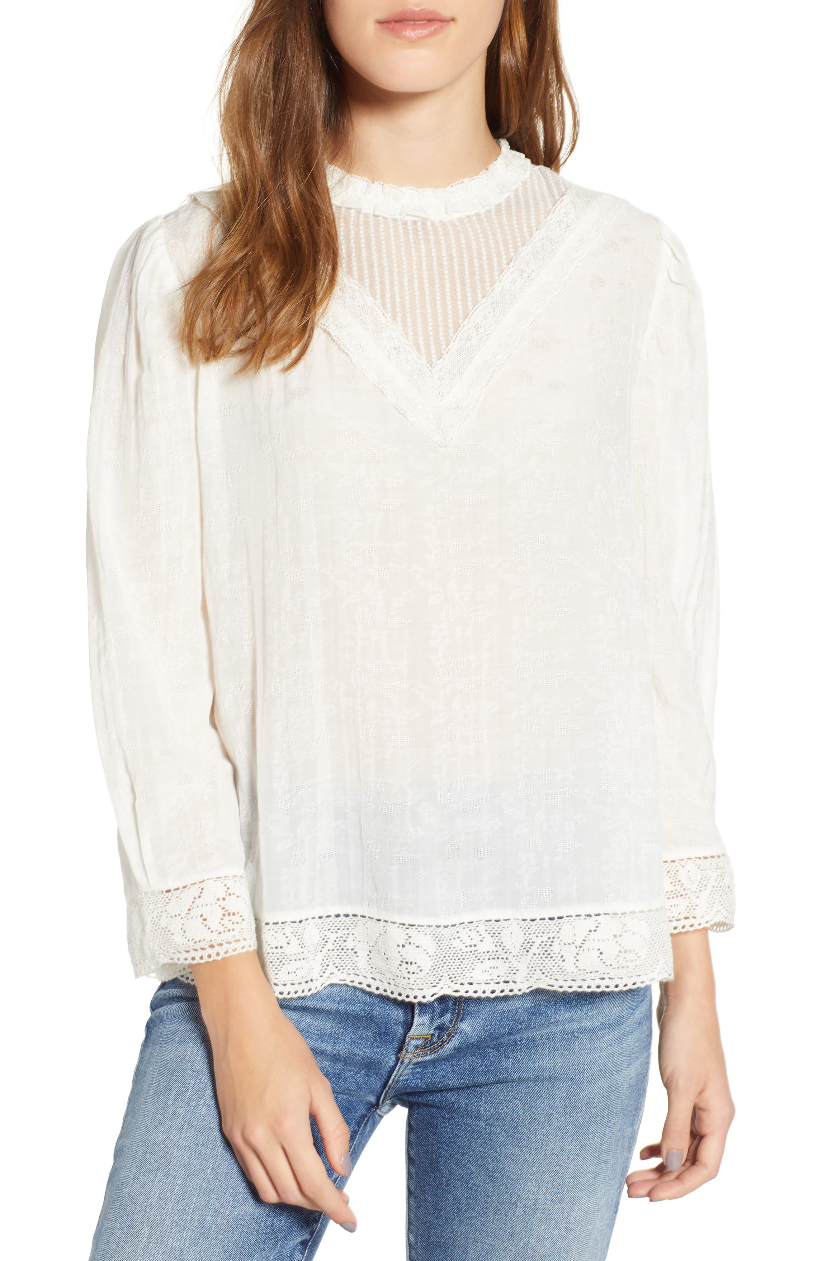 HINGE Lace Detail High Neck Top, Main, color, WHITE SNOW