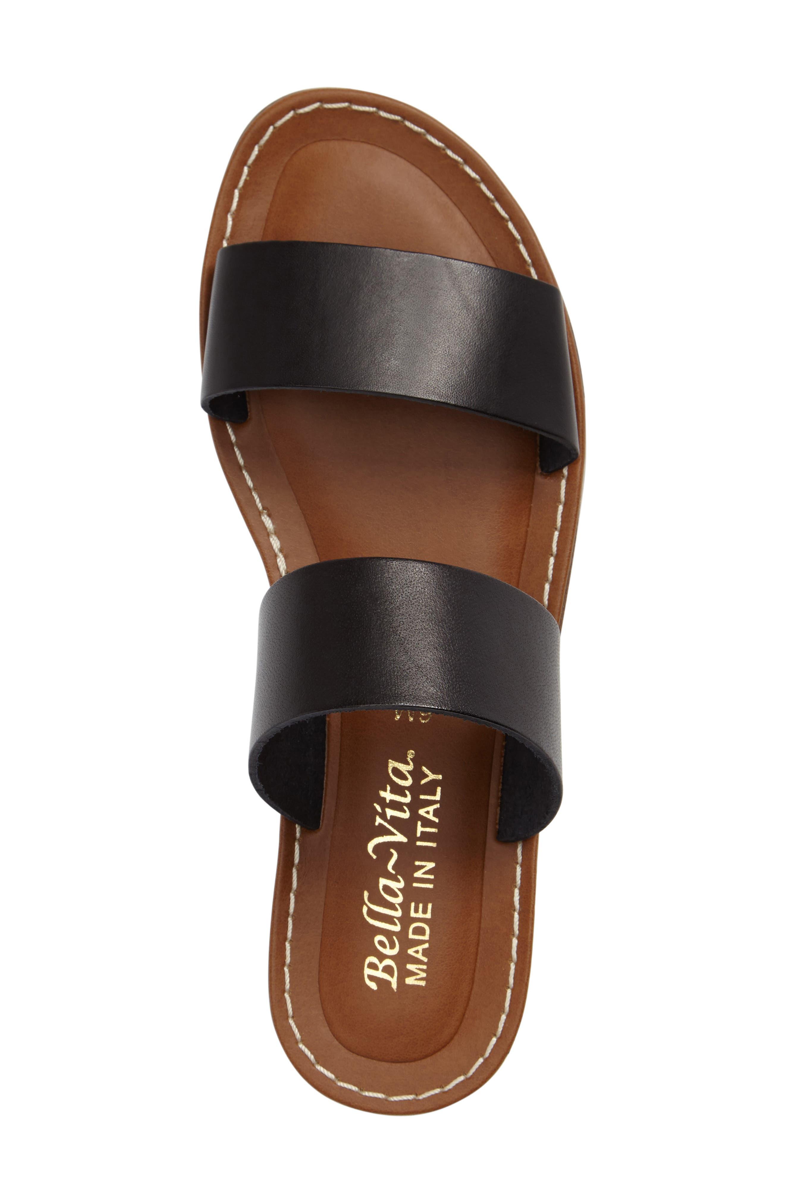 BELLA VITA, Imo Slide Sandal, Alternate thumbnail 3, color, BLACK LEATHER