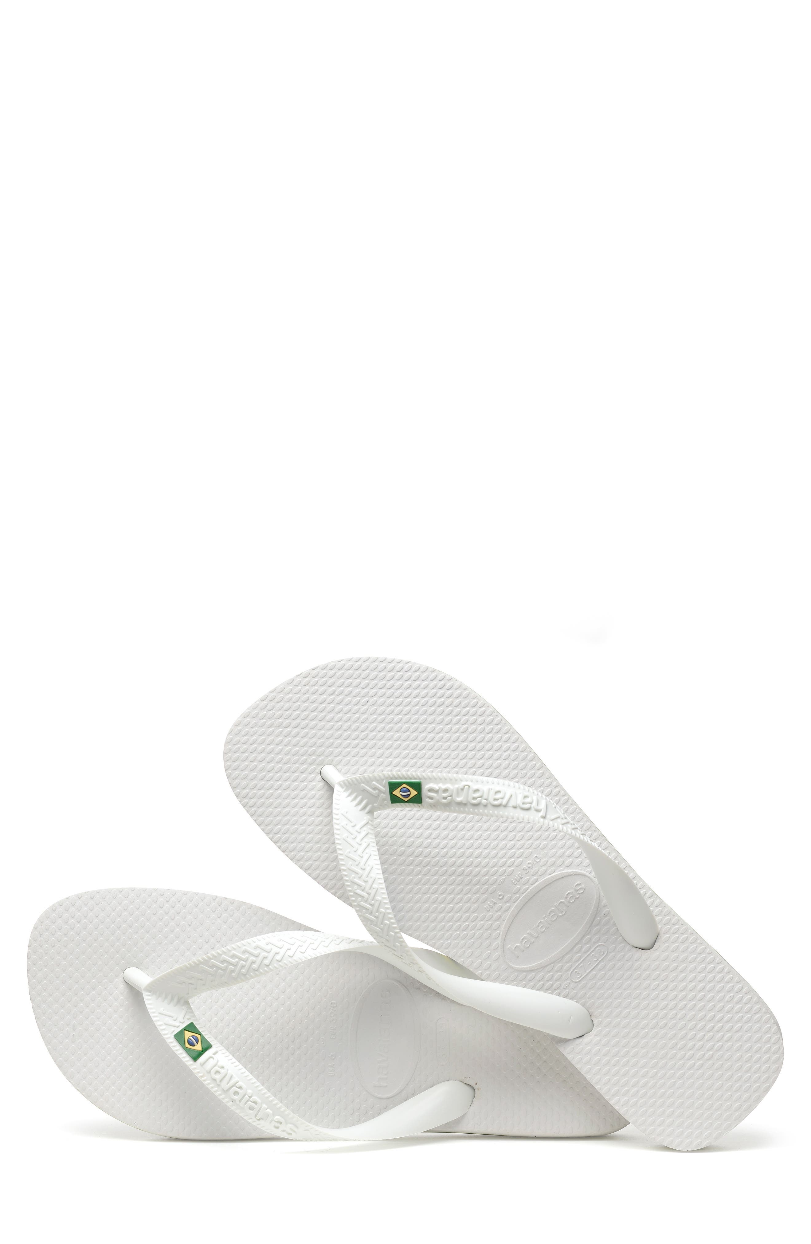 HAVAIANAS, 'Brazil' Flip Flop, Alternate thumbnail 5, color, WHITE